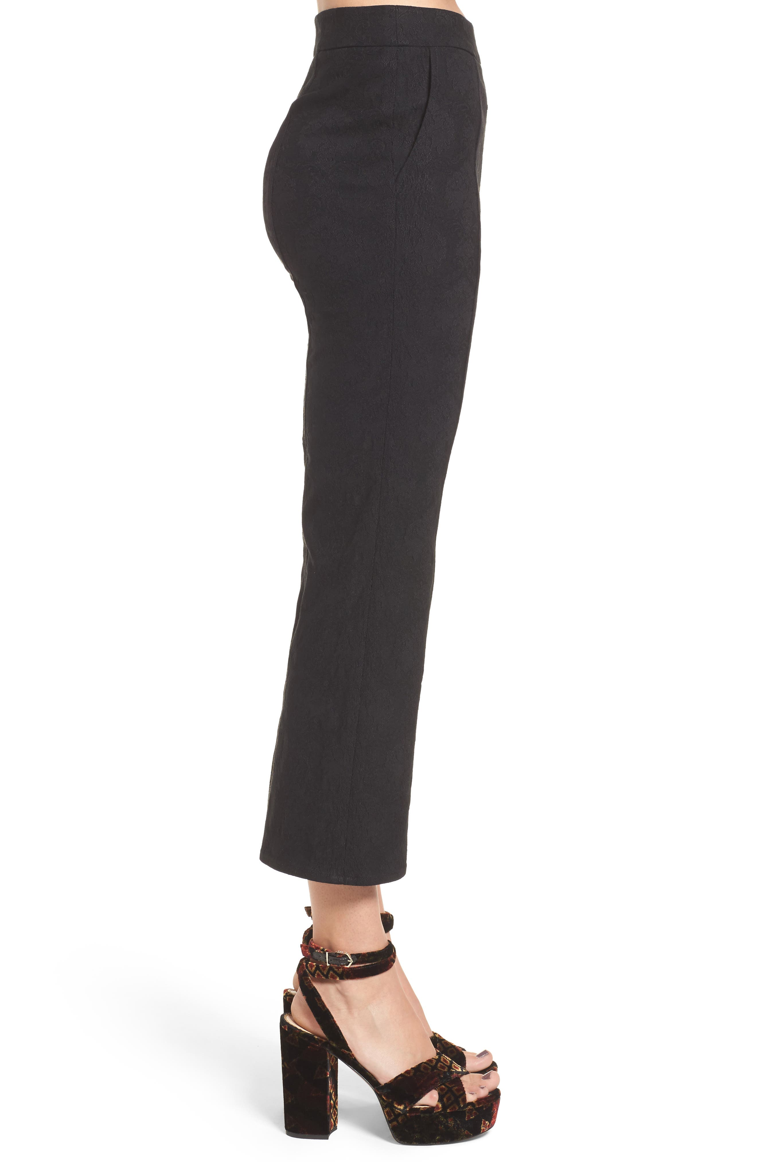 Leigh High Waist Crop Pants,                             Alternate thumbnail 4, color,                             Black