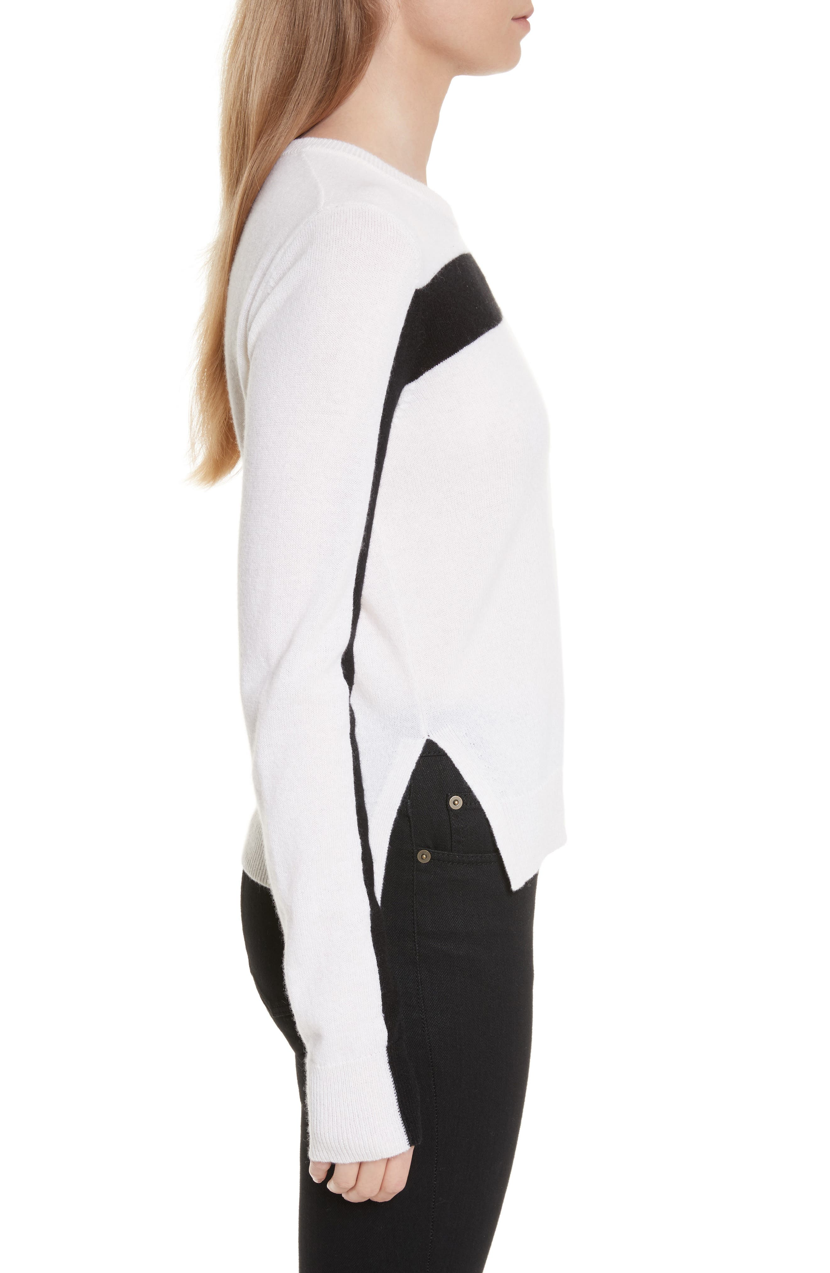 Shirley Cashmere Sweater,                             Alternate thumbnail 3, color,                             Ivory/ Black