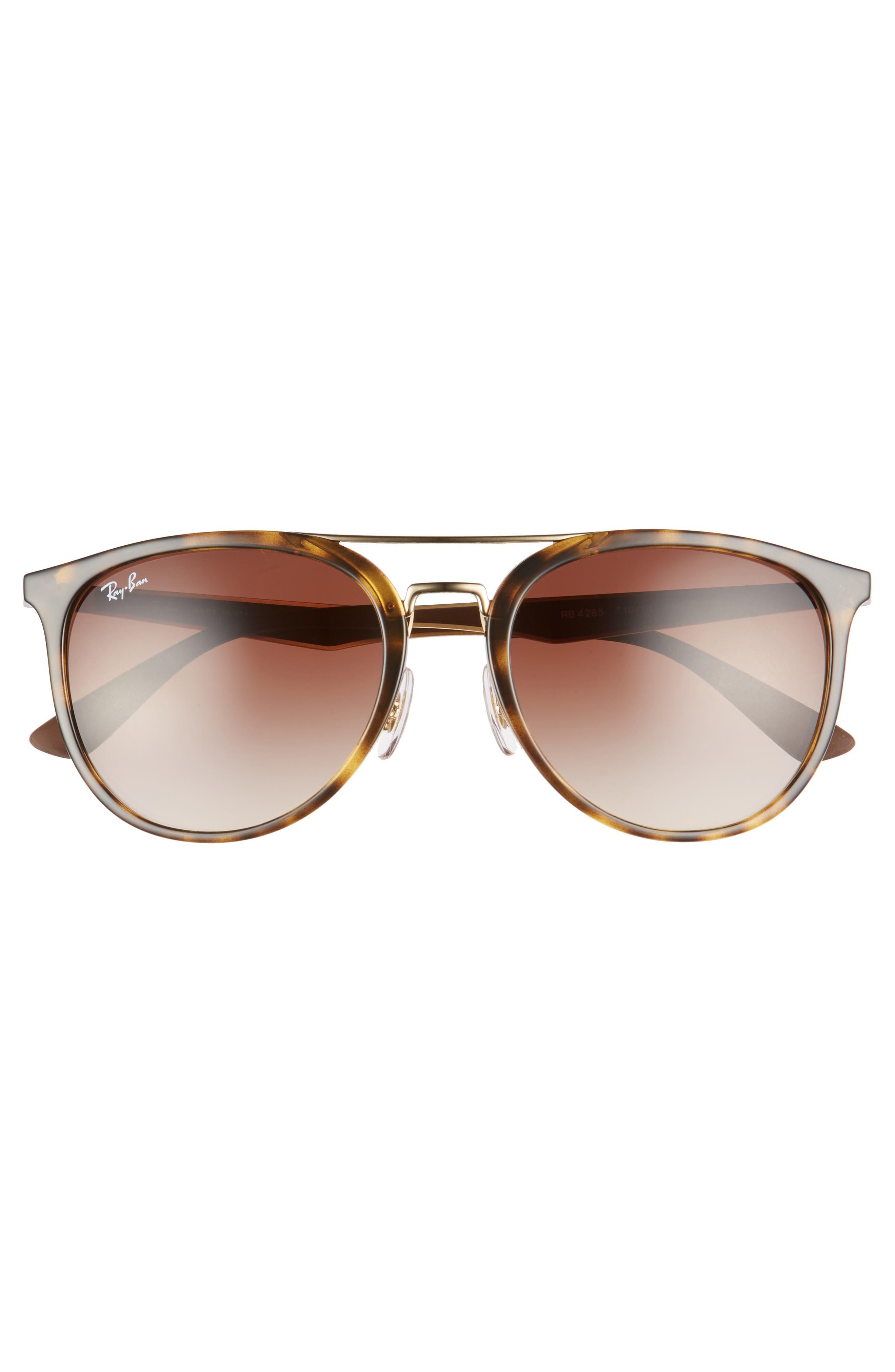 55mm Retro Sunglasses,                             Alternate thumbnail 2, color,                             Light Tortoise