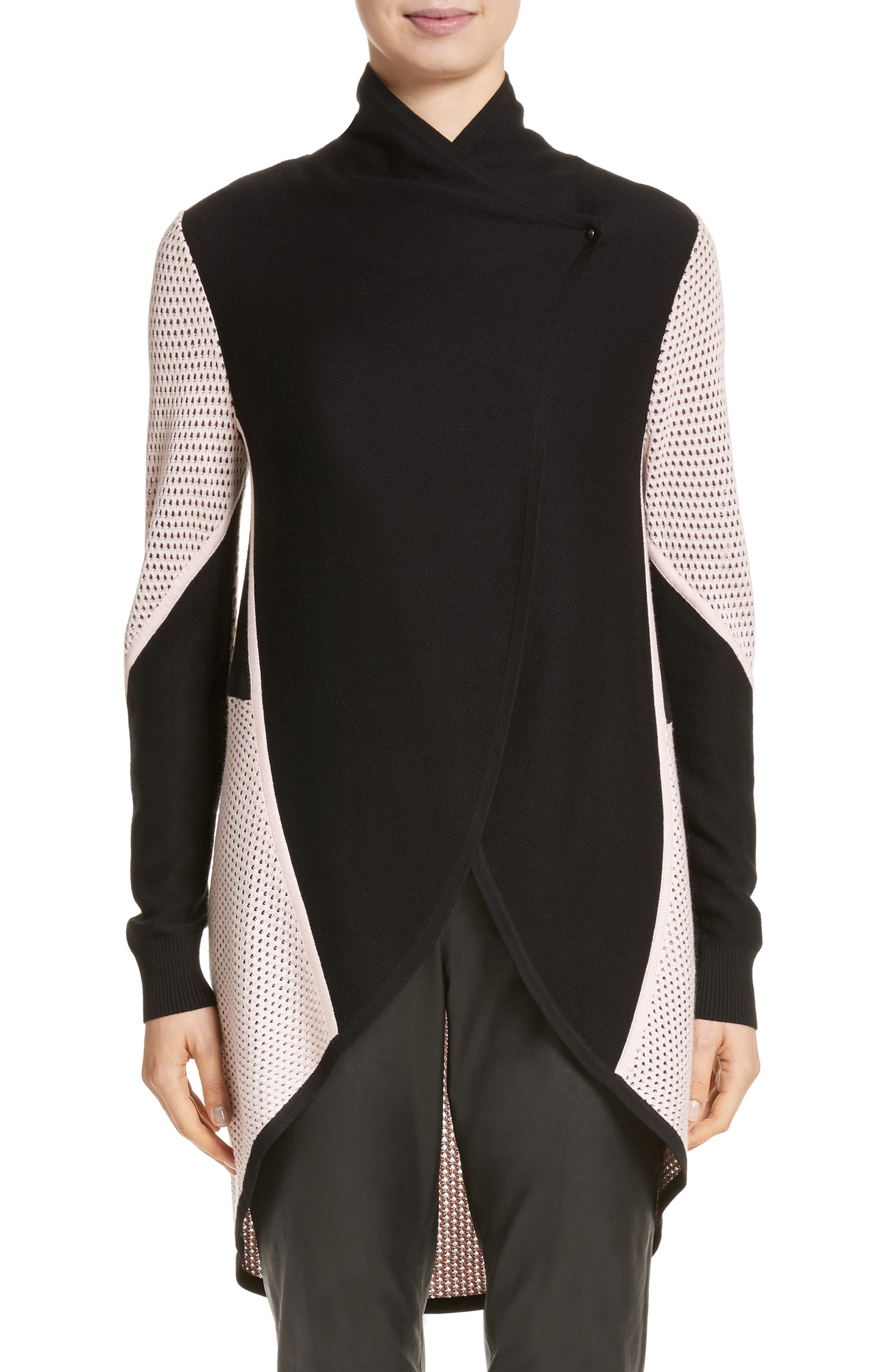 Mesh Knit Cardigan,                         Main,                         color, Caviar/Blush