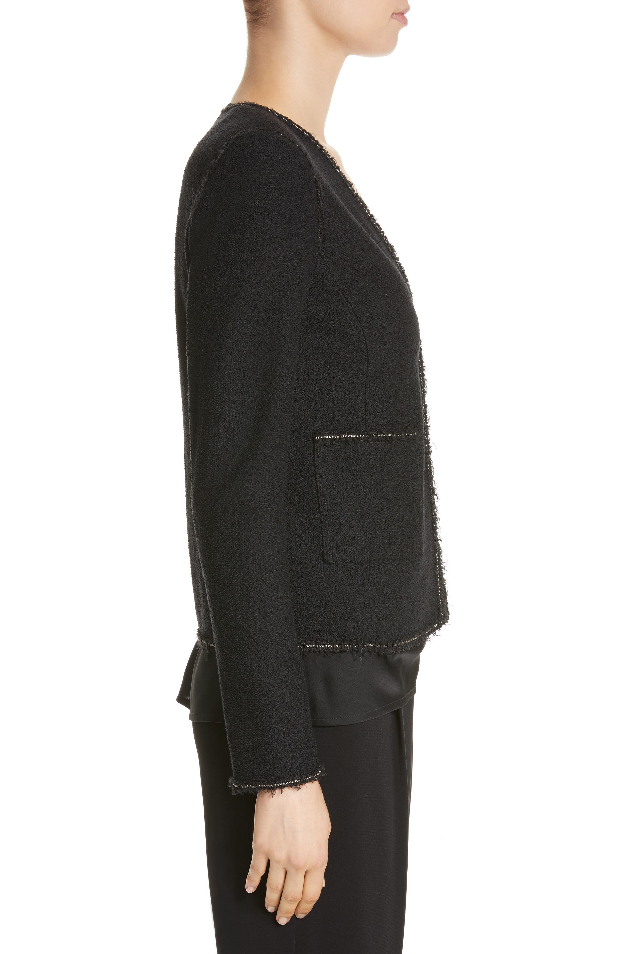 Bouclé Knit Jacket,                             Alternate thumbnail 3, color,                             Caviar