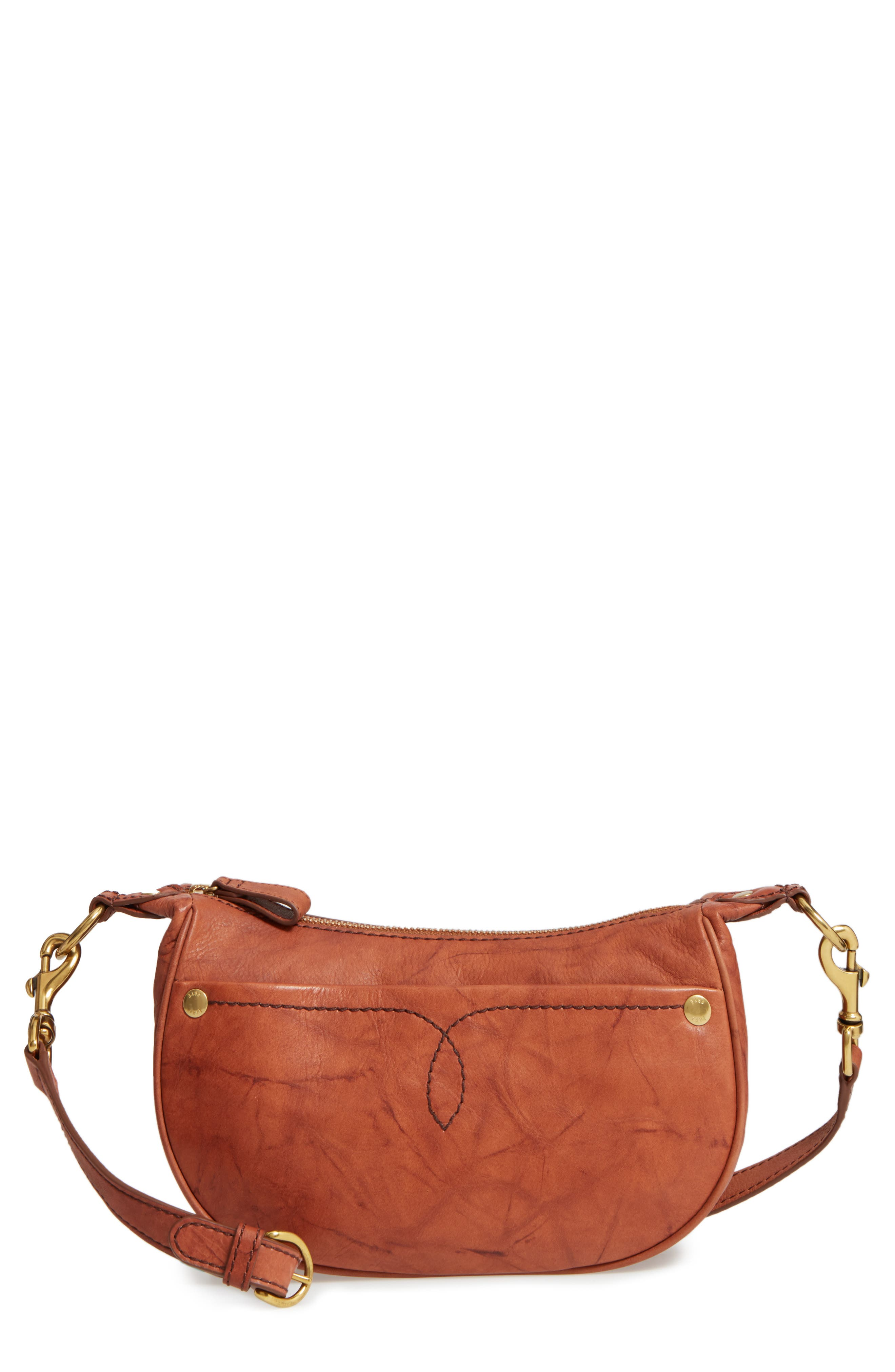 Small Campus Leather Crossbody Bag,                             Main thumbnail 1, color,                             Saddle