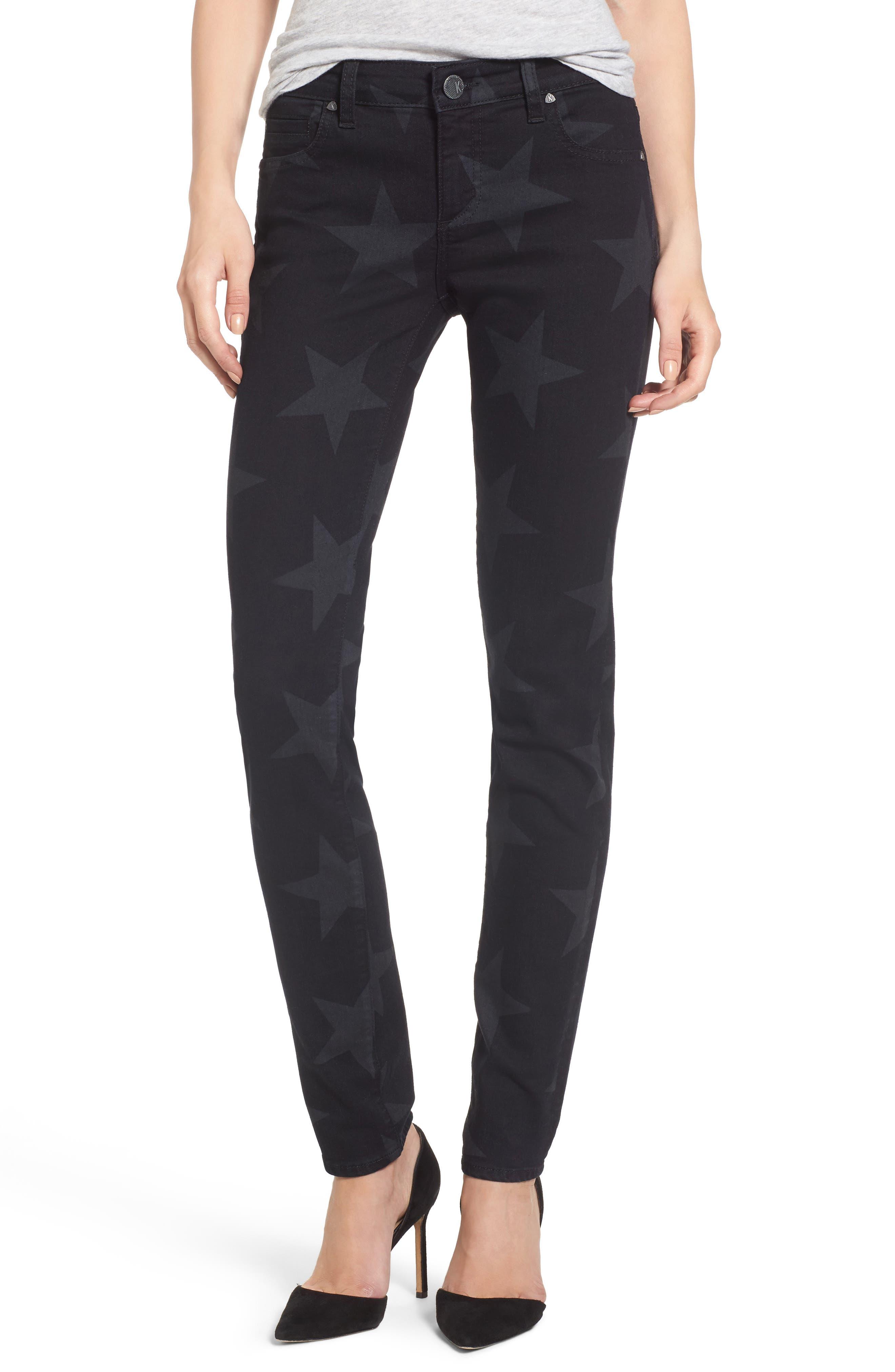 KUT from the Kloth Mia Star Print Skinny Jeans (Trailblazing)