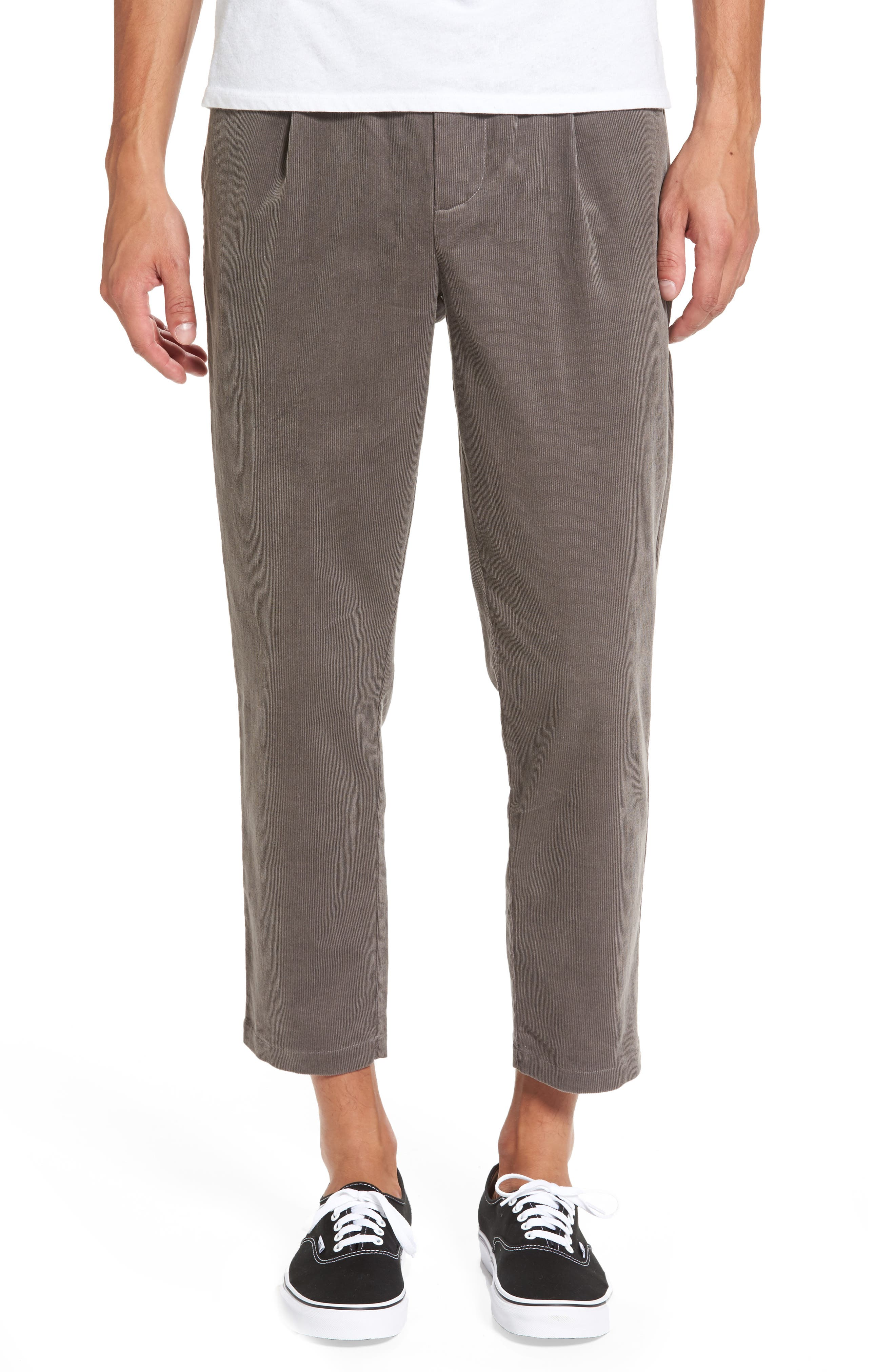 Astbury Crop Corduroy Pants,                             Main thumbnail 1, color,                             Grey