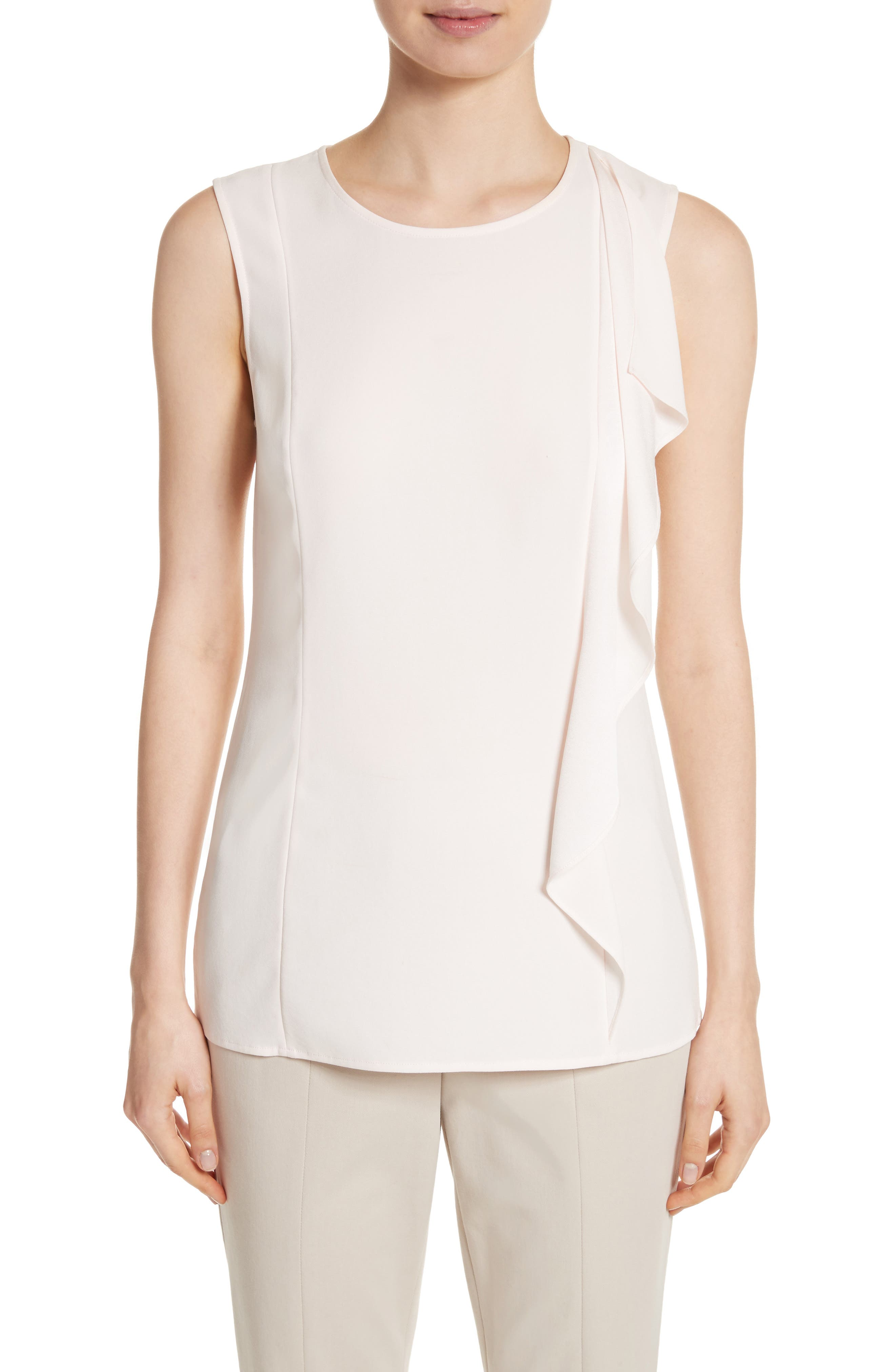 St. John Collection Ruffle Satin Back Crepe Top