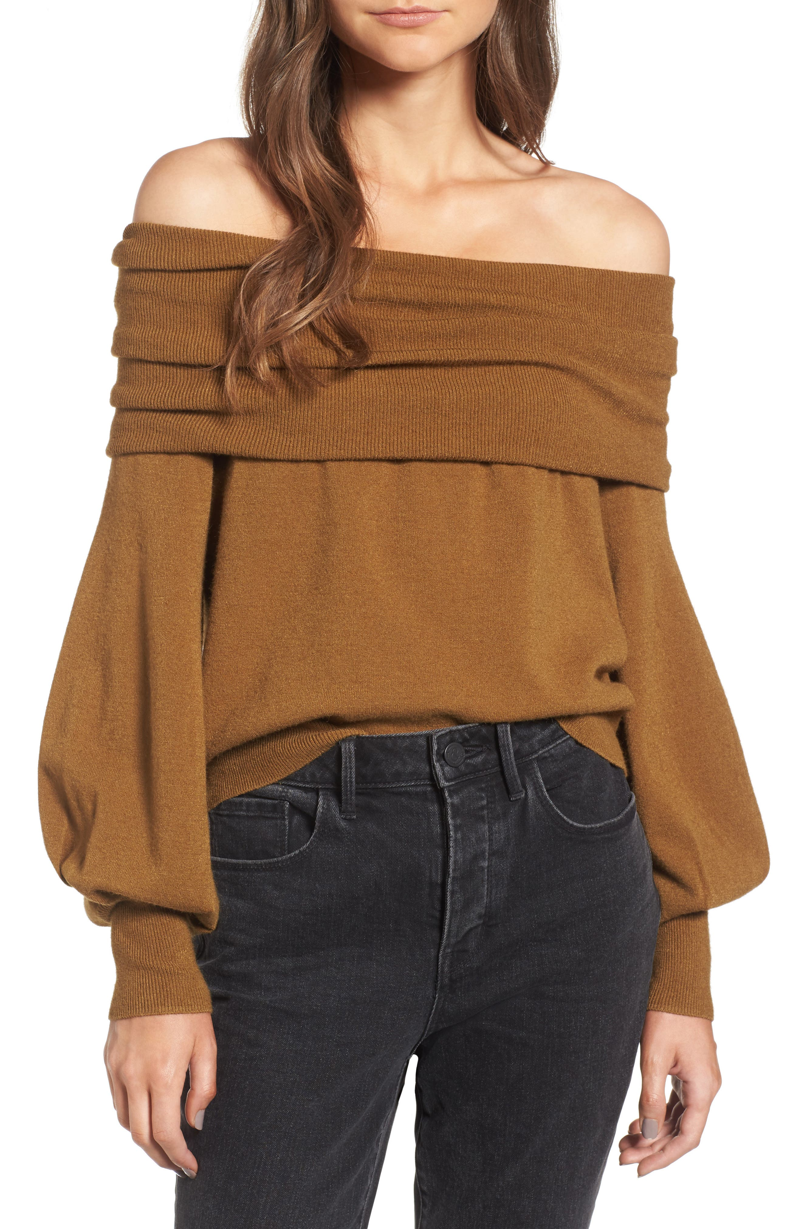 Alternate Image 1 Selected - Treasure & Bond x Something Navy Off the Shoulder Sweater
