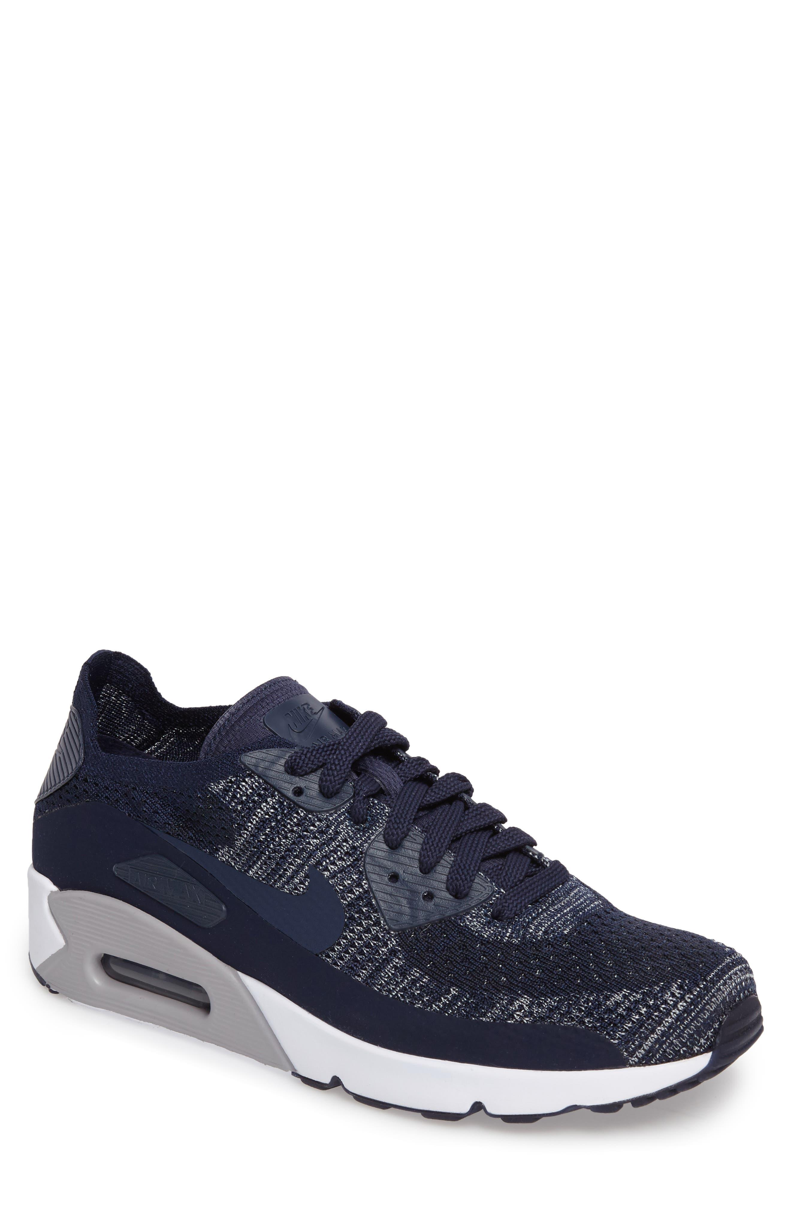 Air Max 90 Ultra 2.0 Flyknit Sneaker,                         Main,                         color, Navy/ Navy/ Grey
