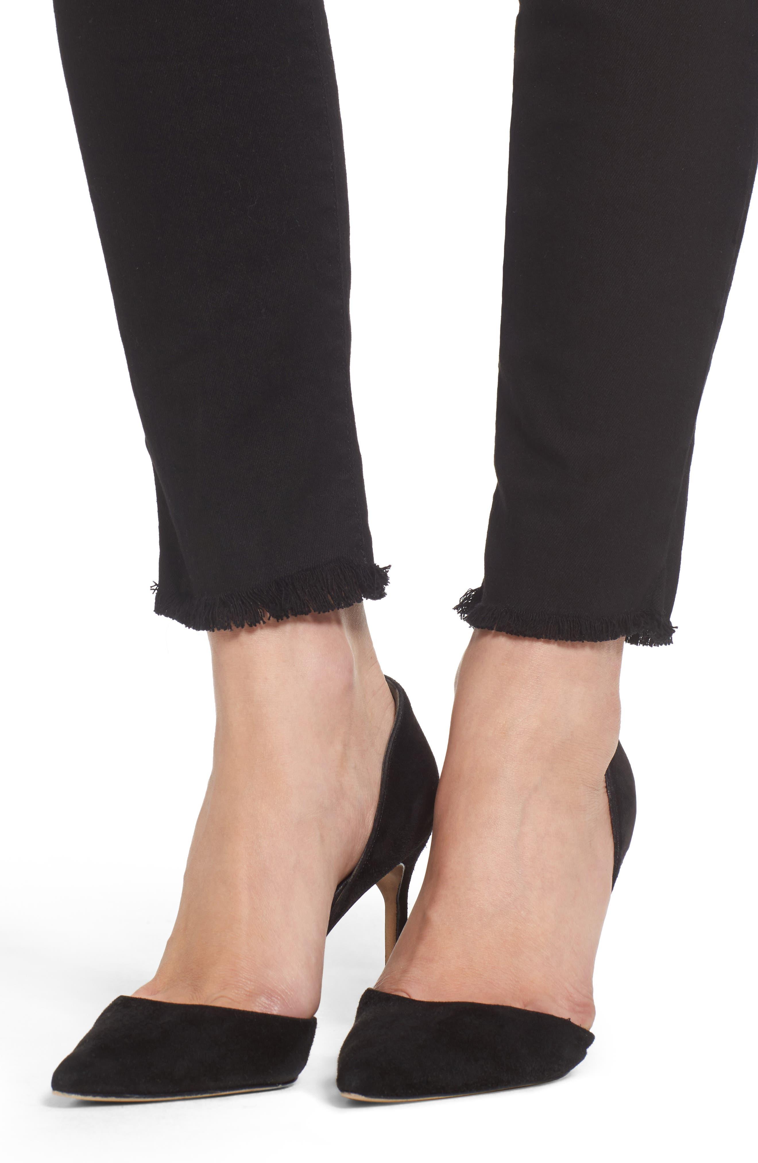 The Super High Waist Stiletto Ankle Skinny Jeans,                             Alternate thumbnail 4, color,                             Jet Black