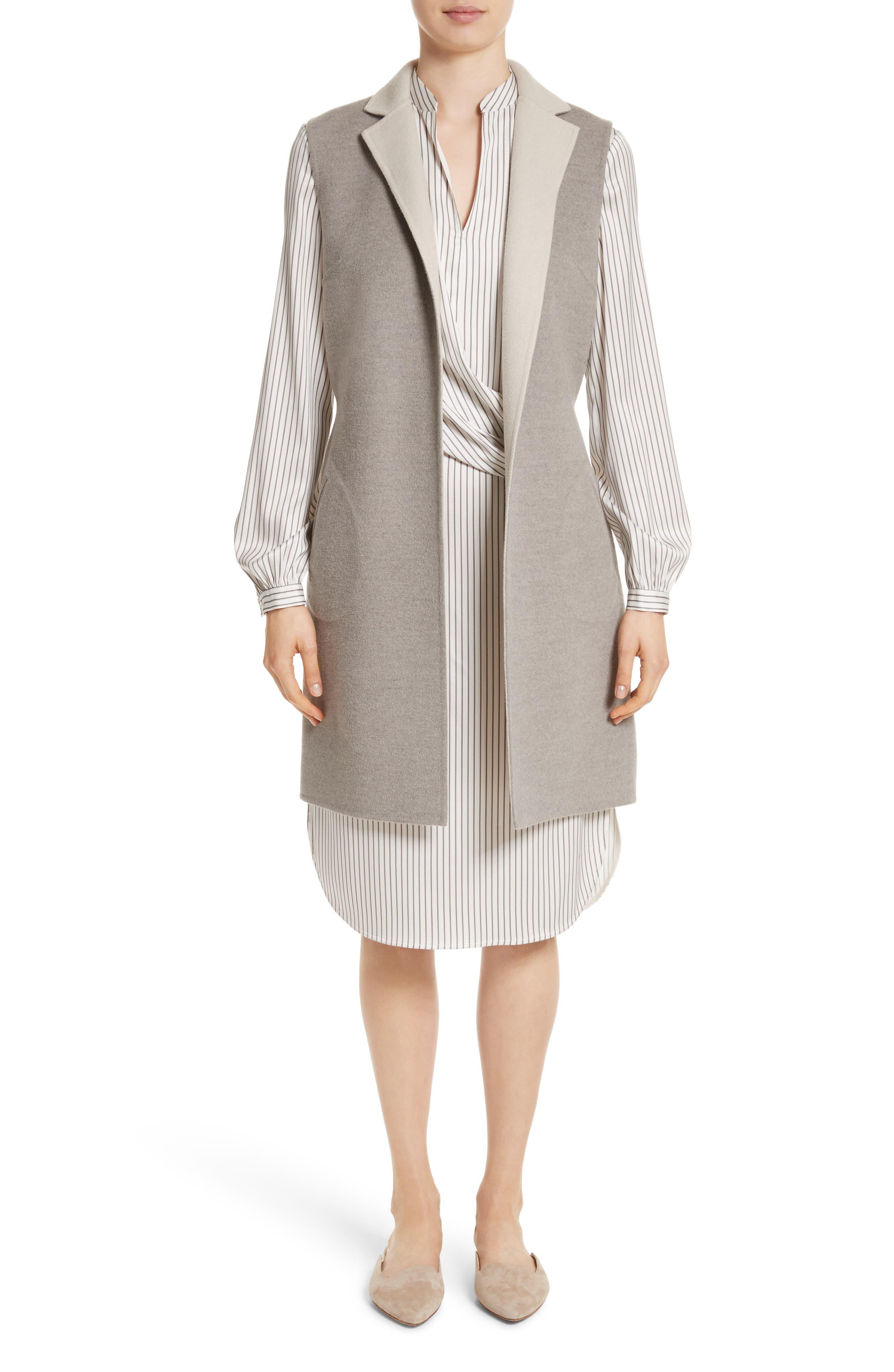 Alternate Image 5  - St. John Collection Vertical Stripe Stretch Silk Dress