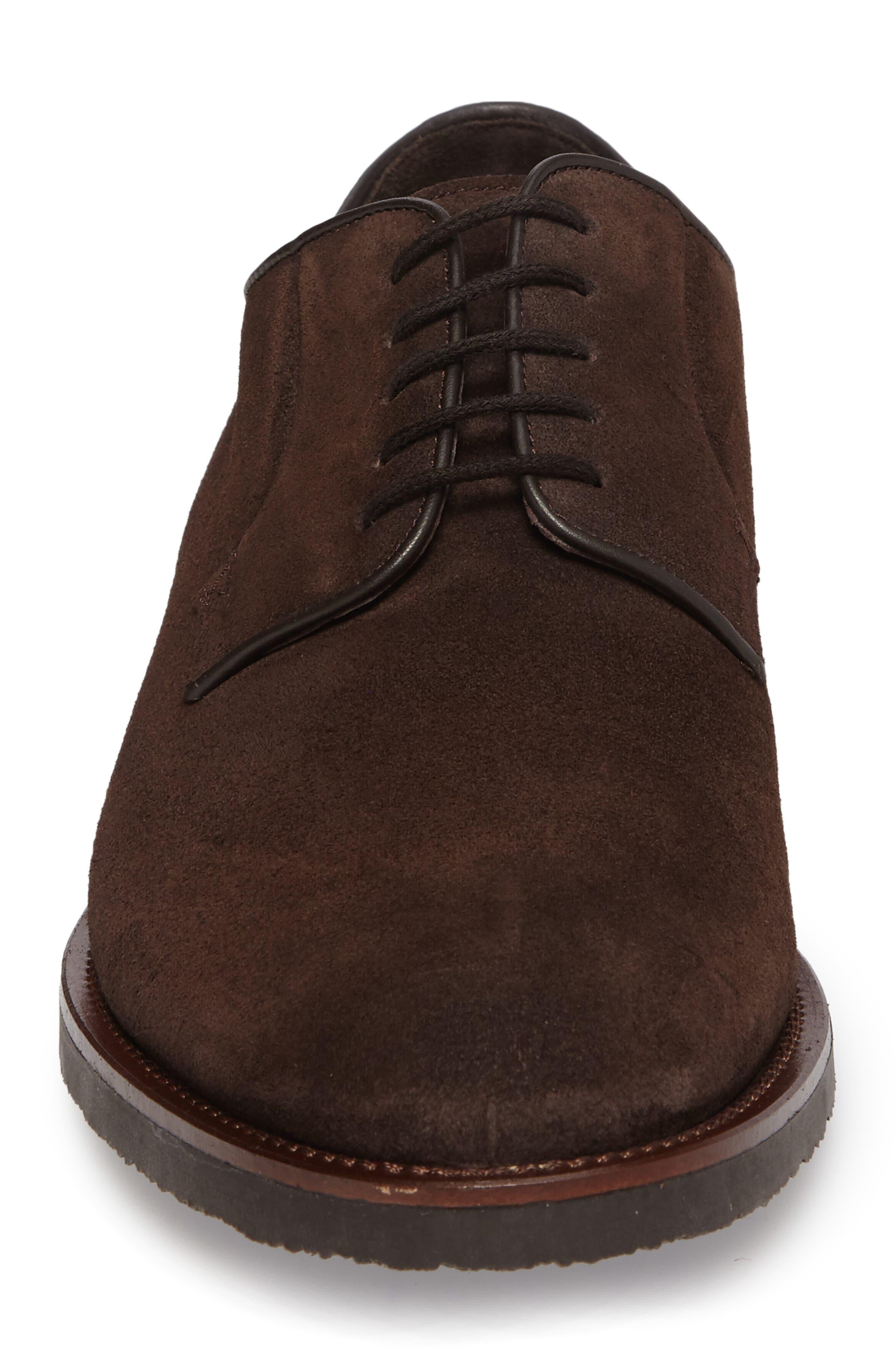Samuel Plain-Toe Derby,                             Alternate thumbnail 4, color,                             Brown Suede Leather