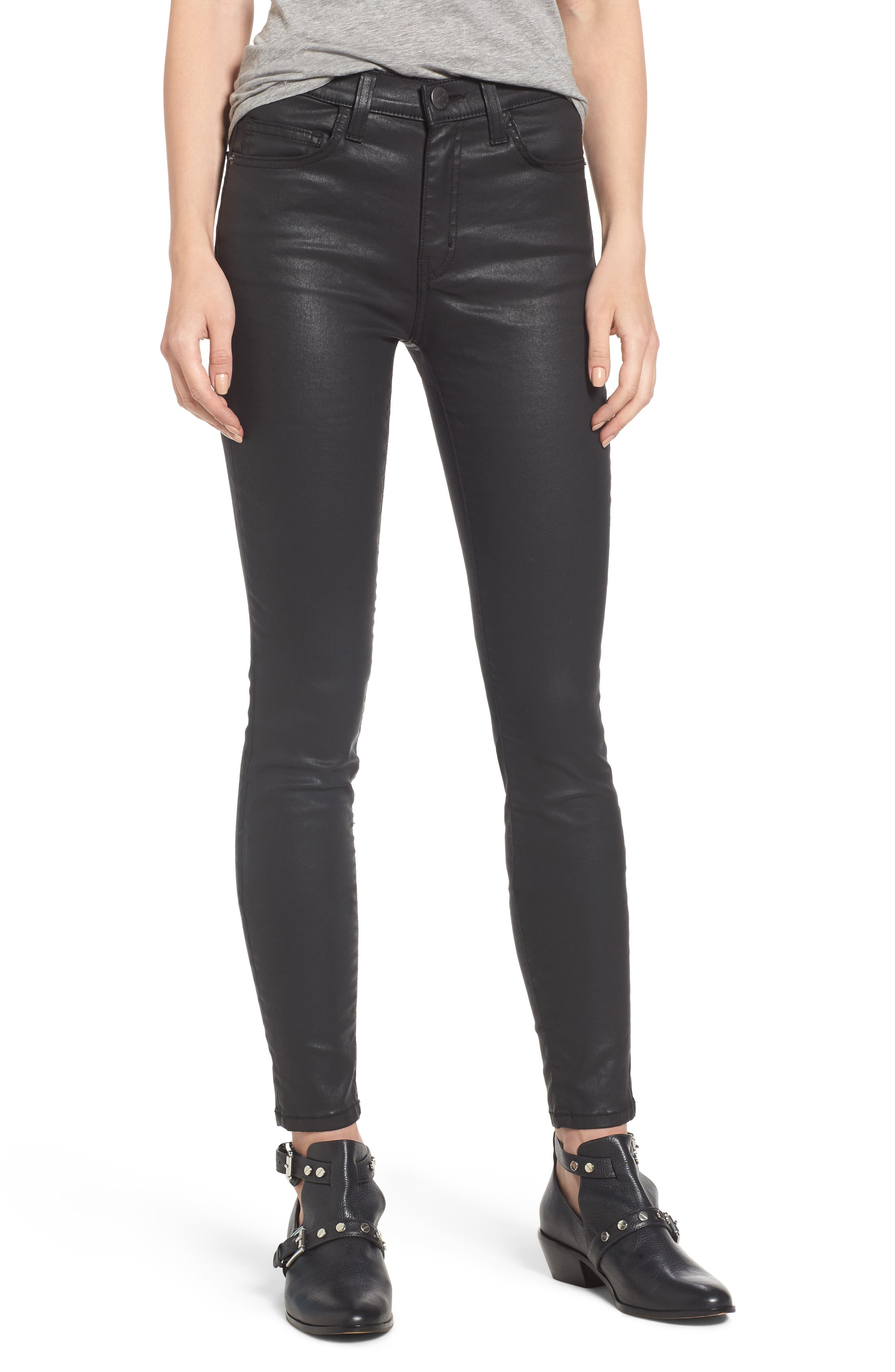 The High Waist Ankle Skinny Jeans,                         Main,                         color, Black Coated
