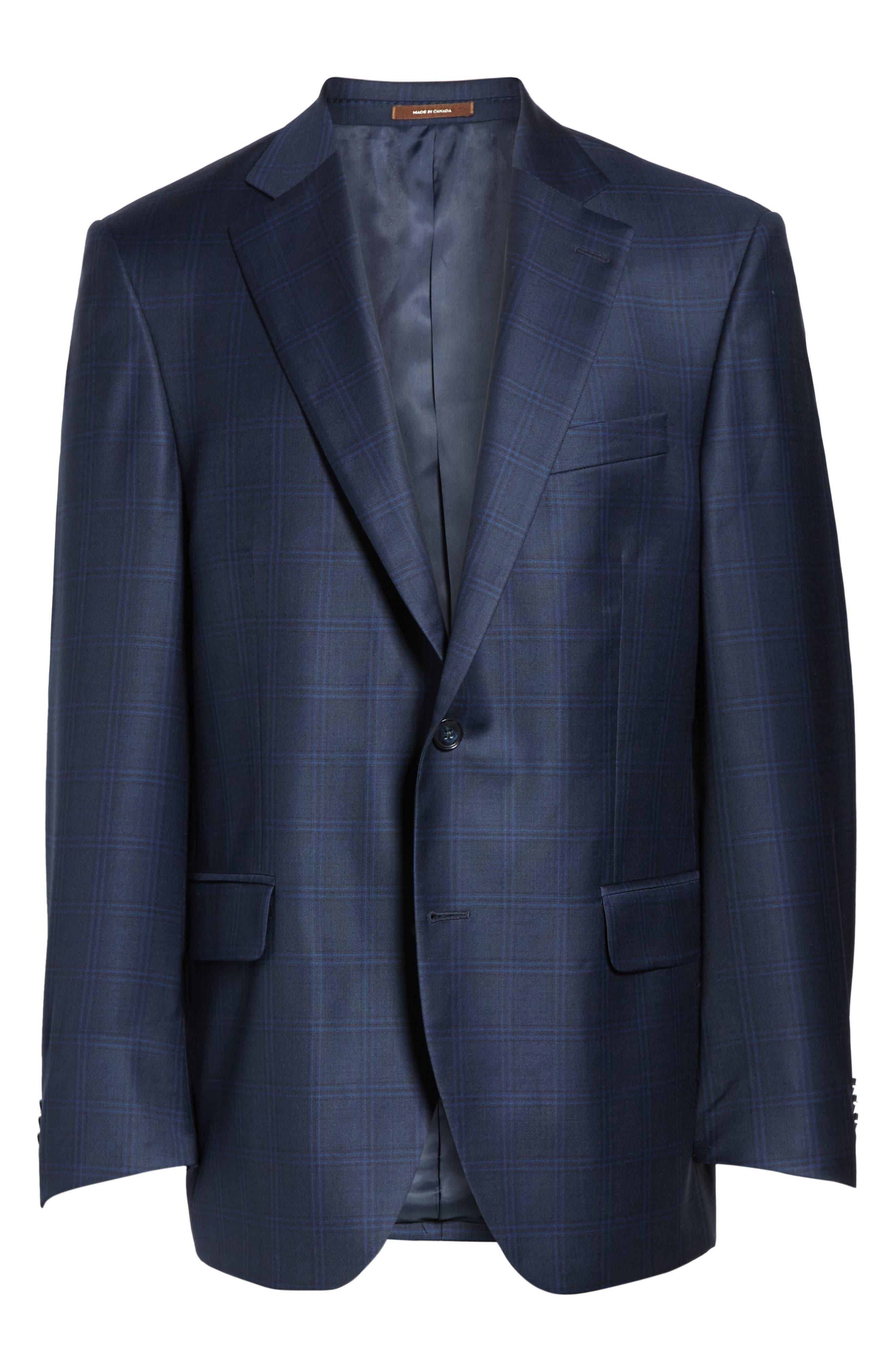 Flynn Classic Fit Plaid Wool Sport Coat,                             Alternate thumbnail 6, color,                             Blue