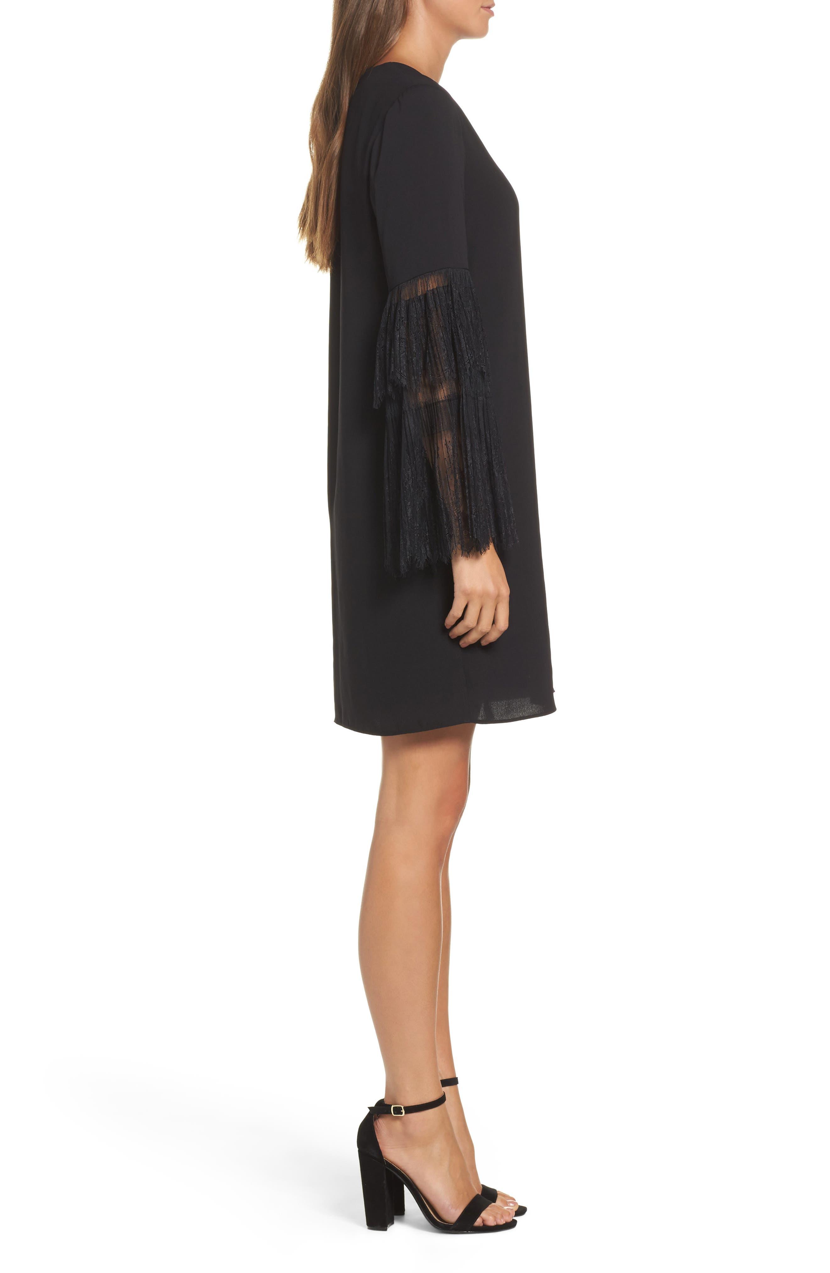 Suki Lace Sleeve Shift Dress,                             Alternate thumbnail 3, color,                             Black