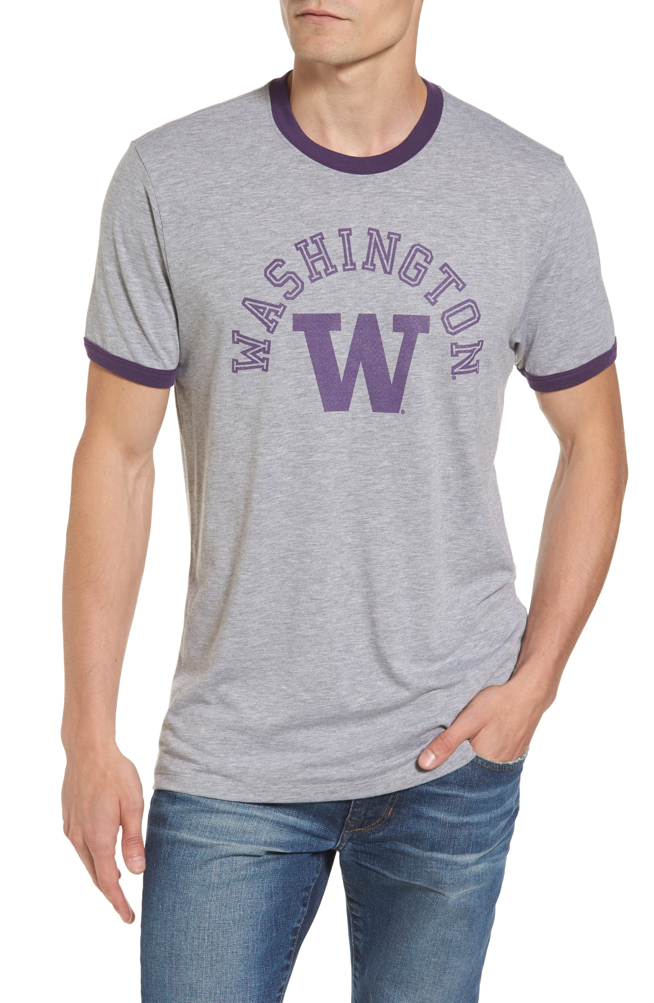 University of Washington Huskies Ringer T-Shirt,                         Main,                         color, Grey