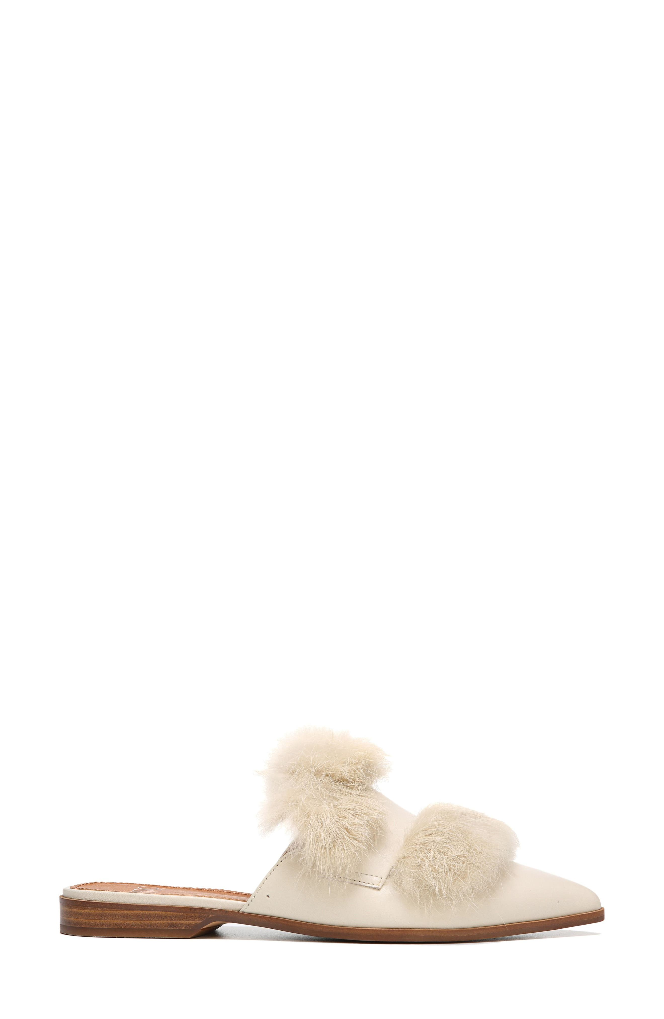 Palmer II Genuine Rabbit Fur Slide,                             Alternate thumbnail 3, color,                             Winter White Leather