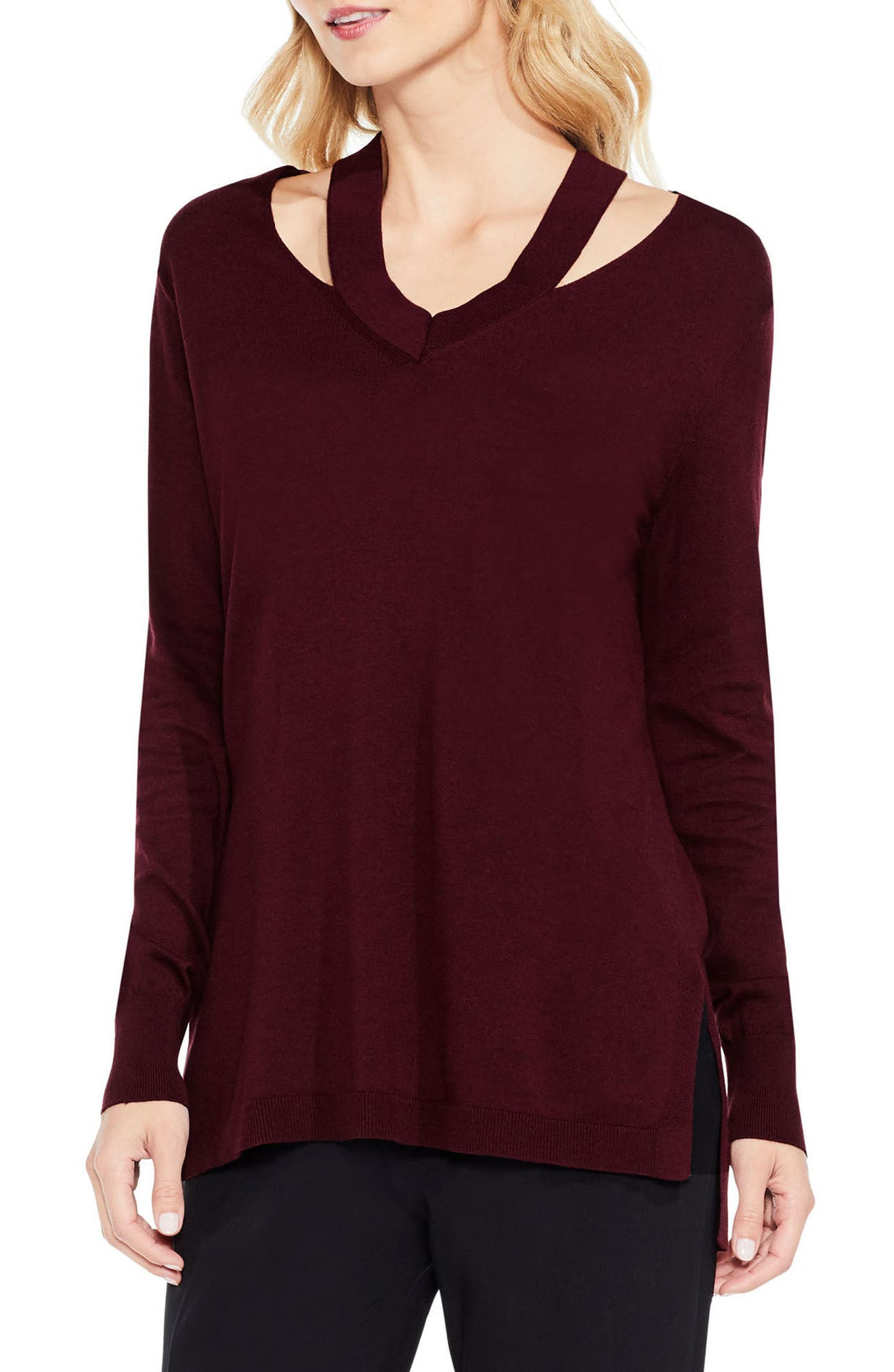 Cutout Neck Sweater,                         Main,                         color, Deep Claret