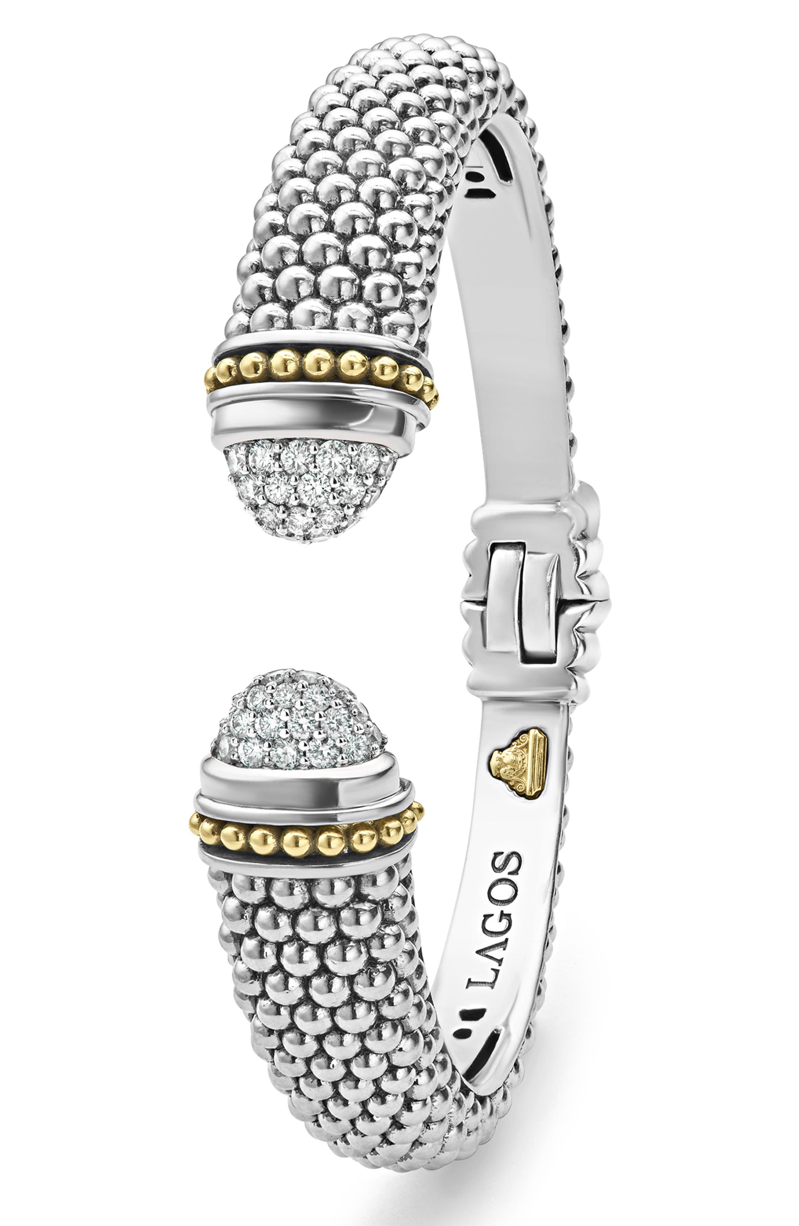 Caviar Diamond Cuff,                             Alternate thumbnail 3, color,                             Silver