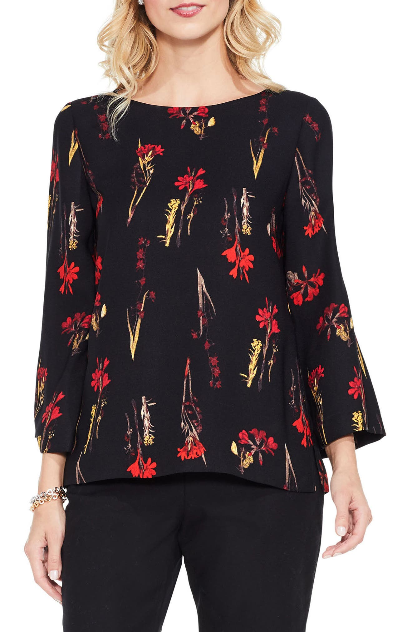 Alternate Image 1 Selected - Vince Camuto Botanical Print Blouse (Regular & Petite)