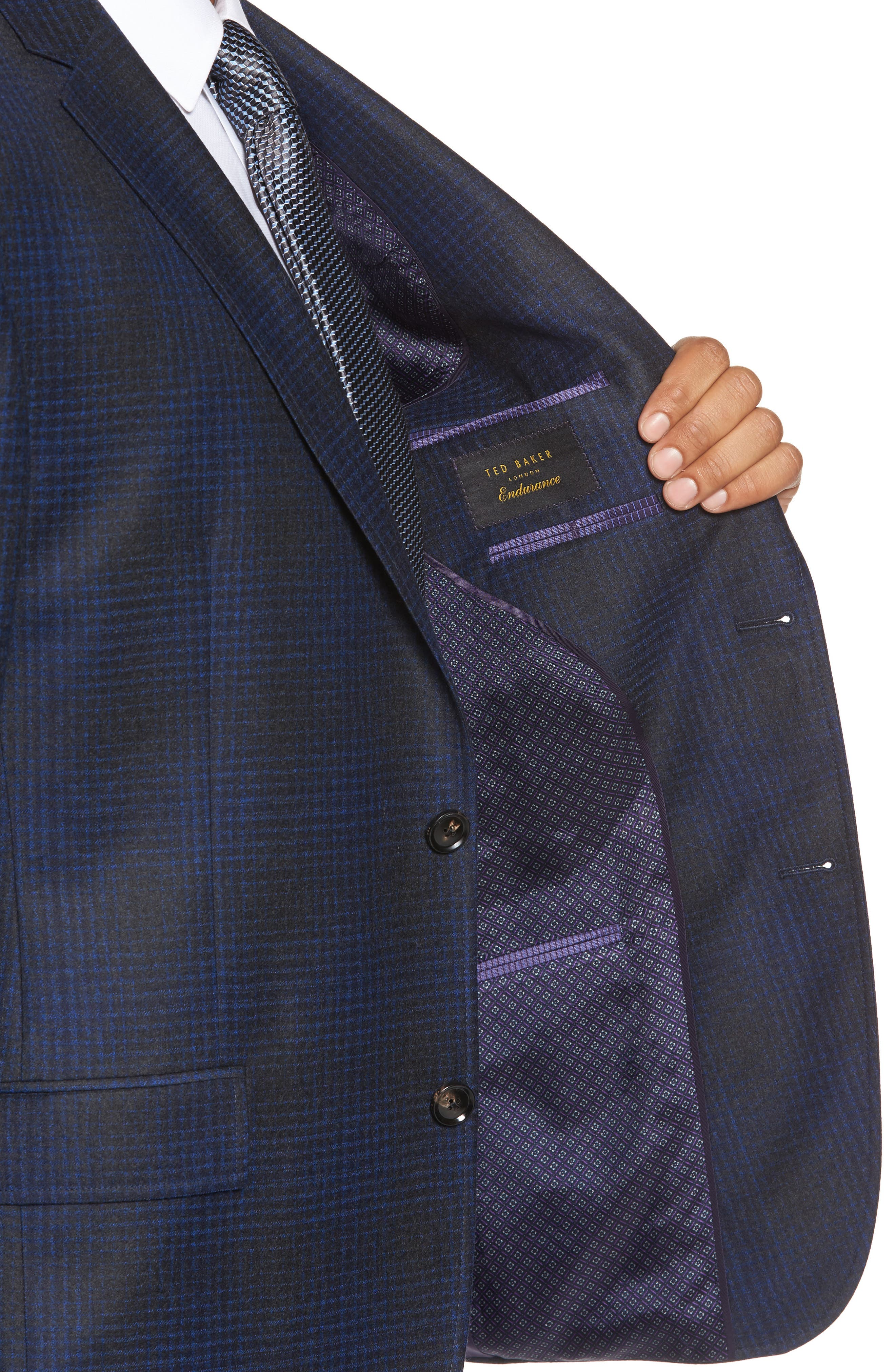 Trim Fit Plaid Wool Sport Coat,                             Alternate thumbnail 4, color,                             Charcoal