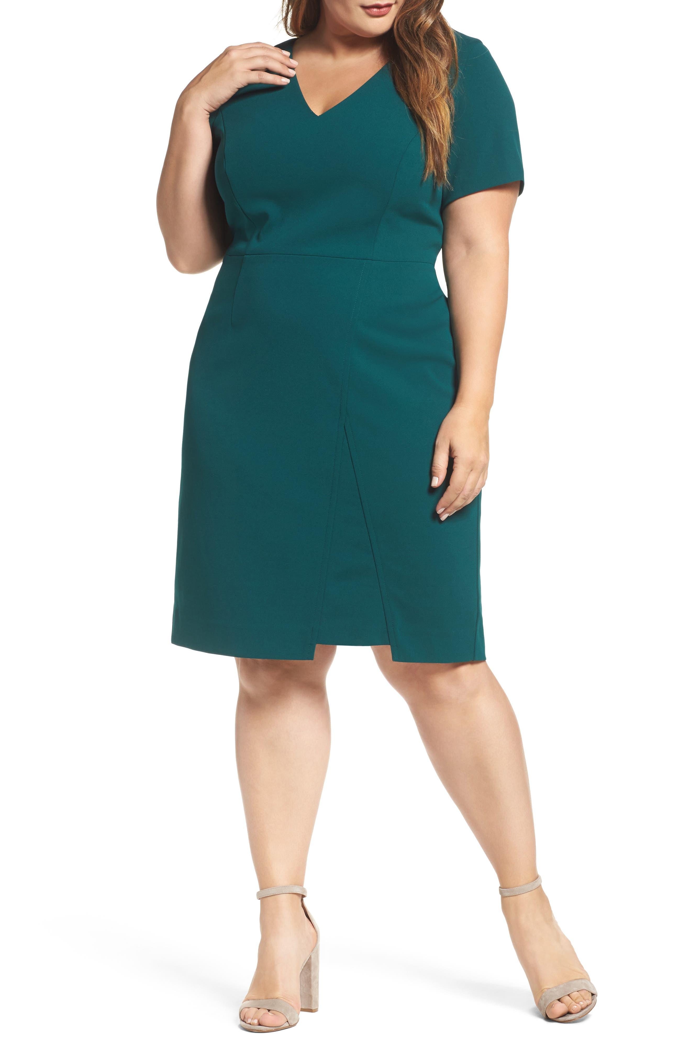 Scuba Crepe Sheath Dress,                             Main thumbnail 1, color,                             Dark Green