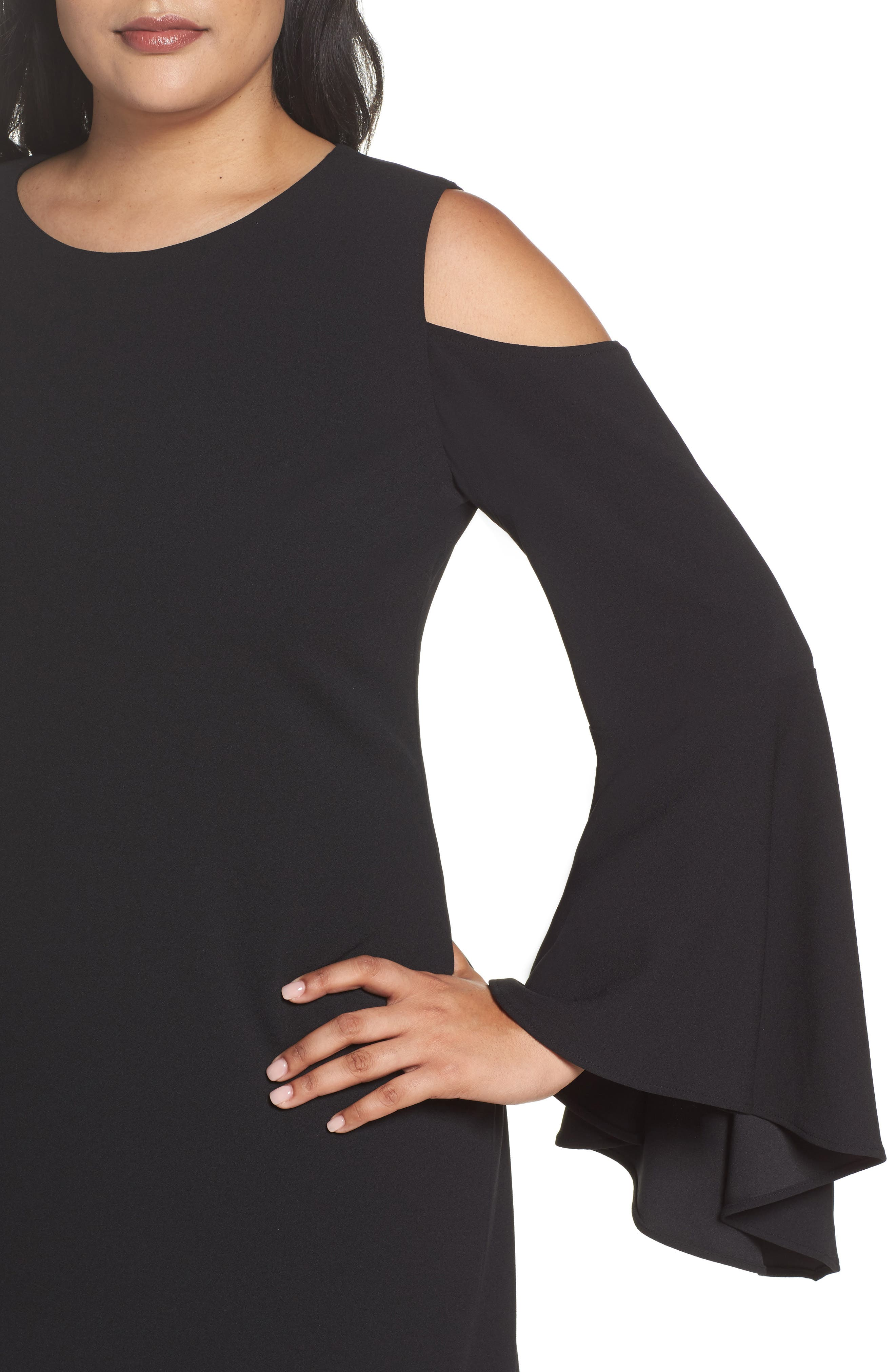Alternate Image 4  - Vince Camuto Flounce Cuff Cold Shoulder Dress (Plus Size)