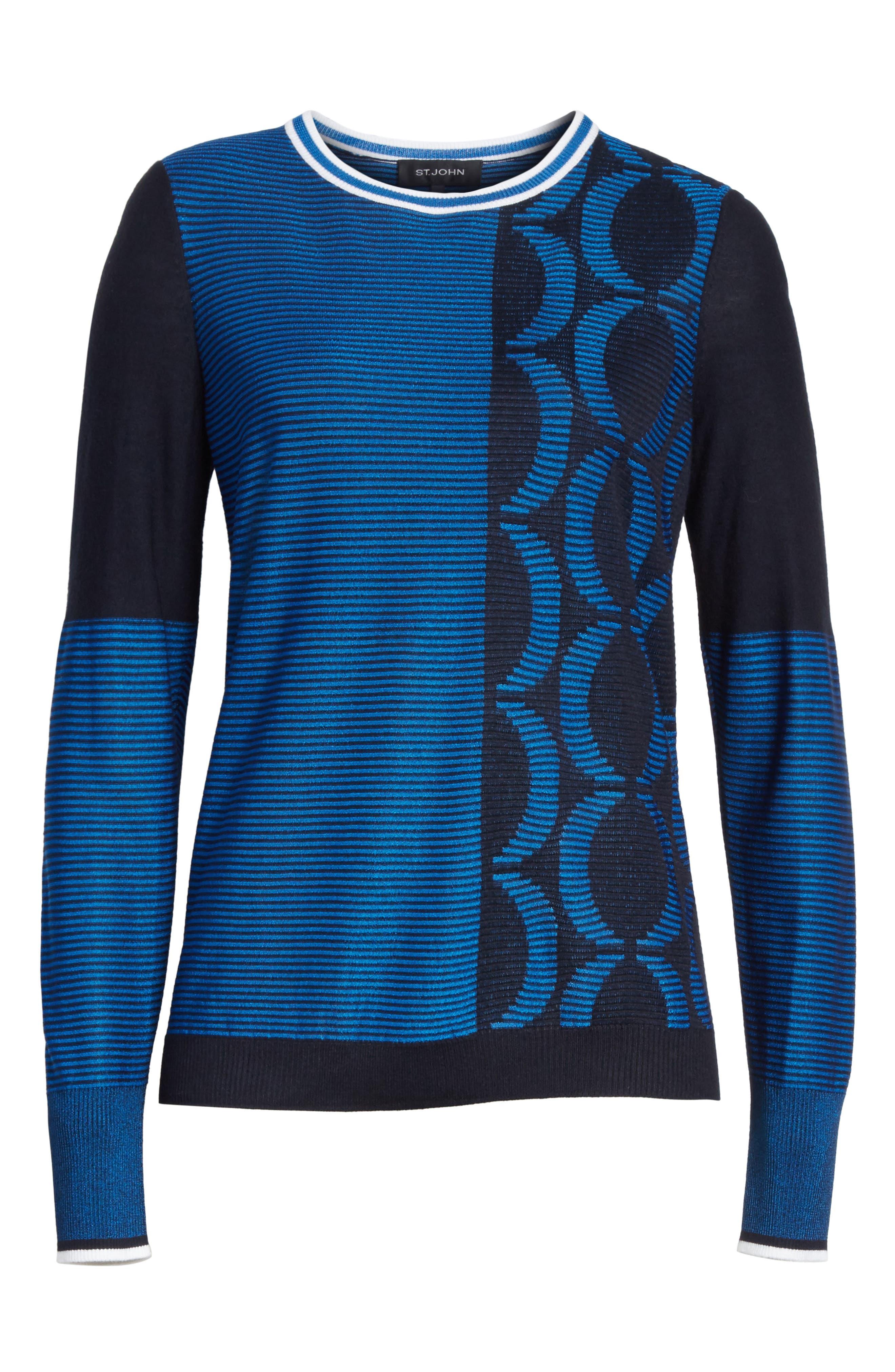Jacquard Knit Sweater,                             Alternate thumbnail 6, color,                             Navy/ Niagara/ Bianco