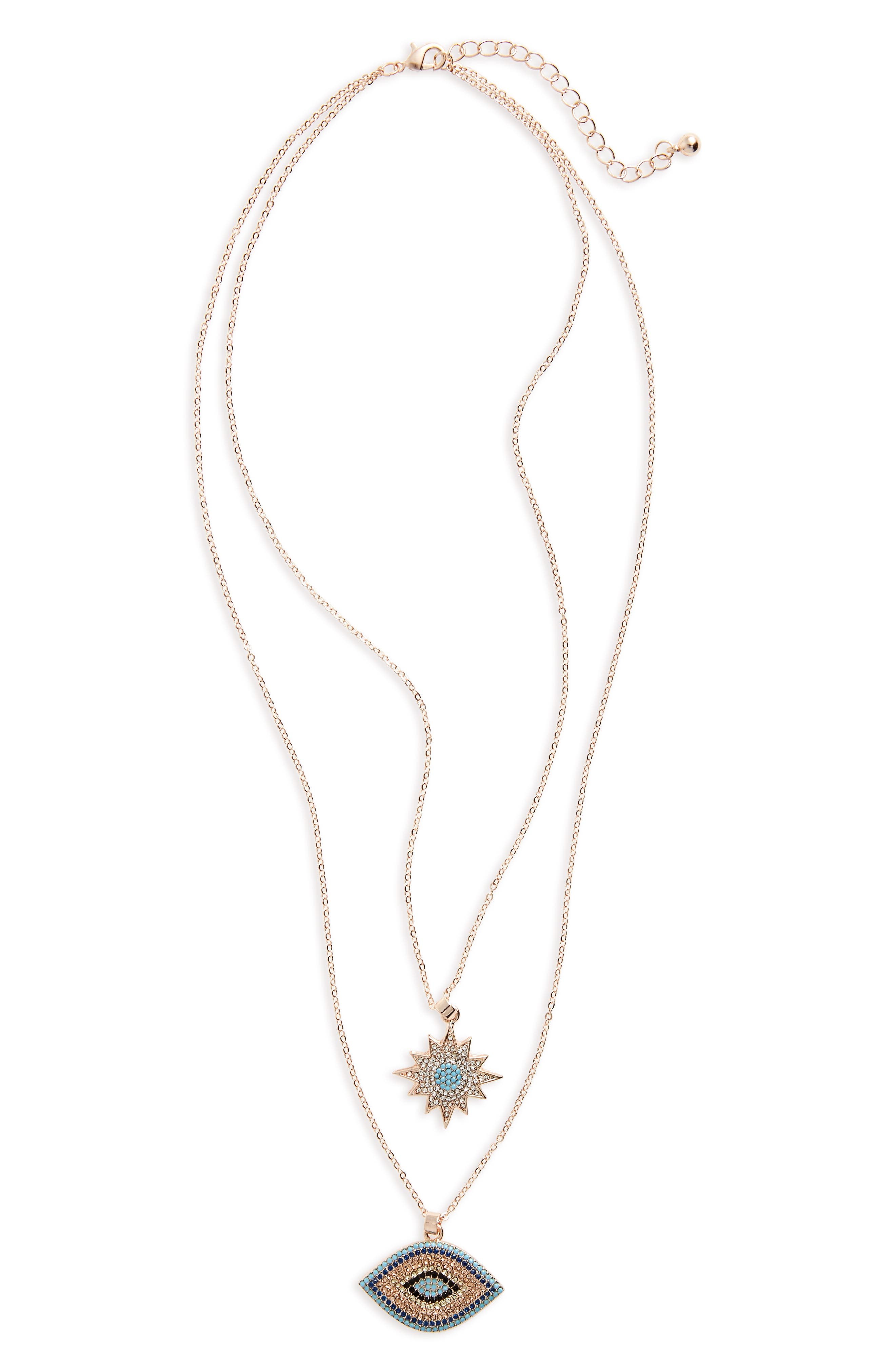 Multistrand Pendant Necklace,                         Main,                         color, Gold Plating