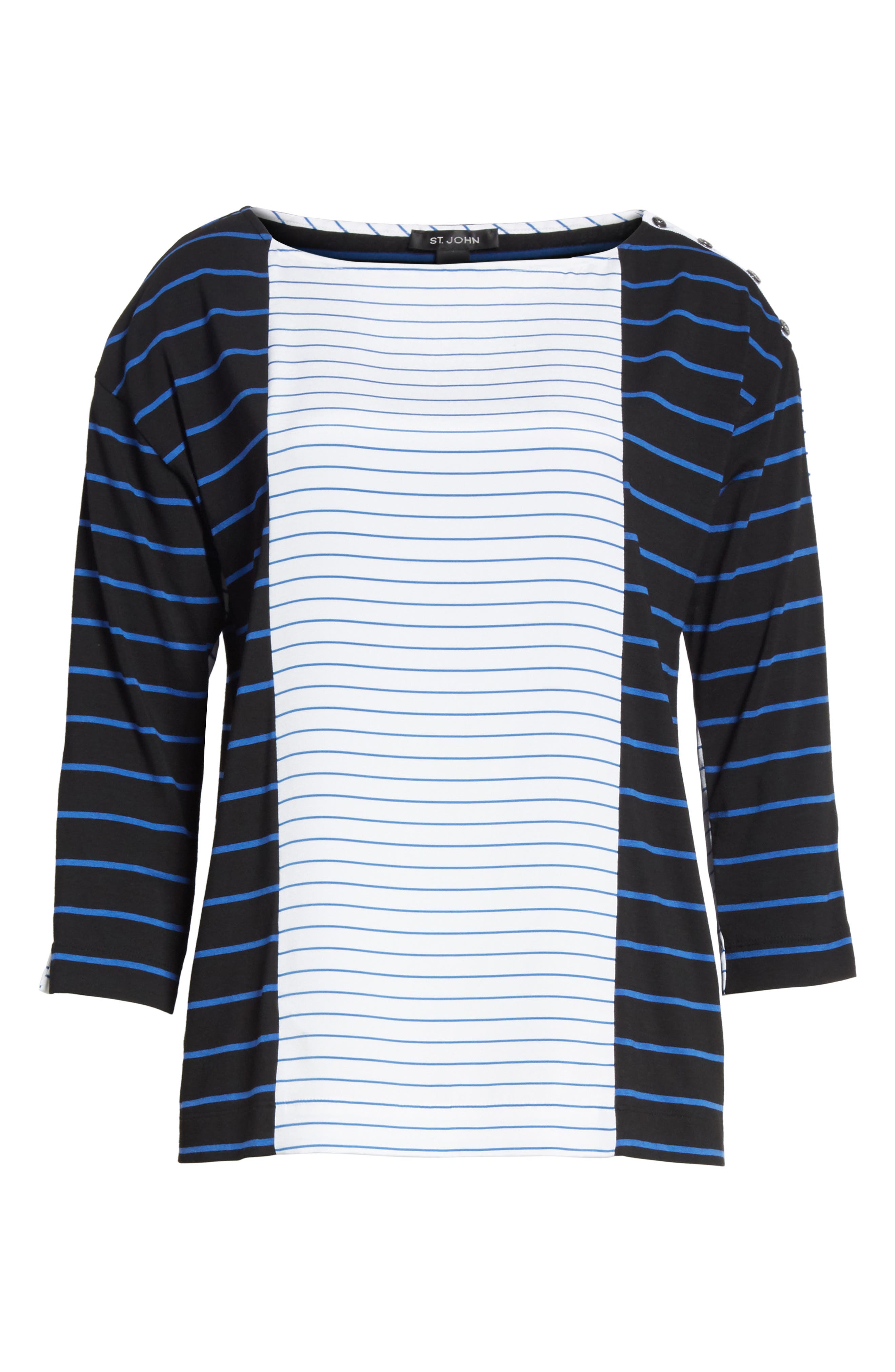 Yarn Dyed Stripe Jersey Top,                             Alternate thumbnail 6, color,                             Caviar/ Niagara/ Bianco