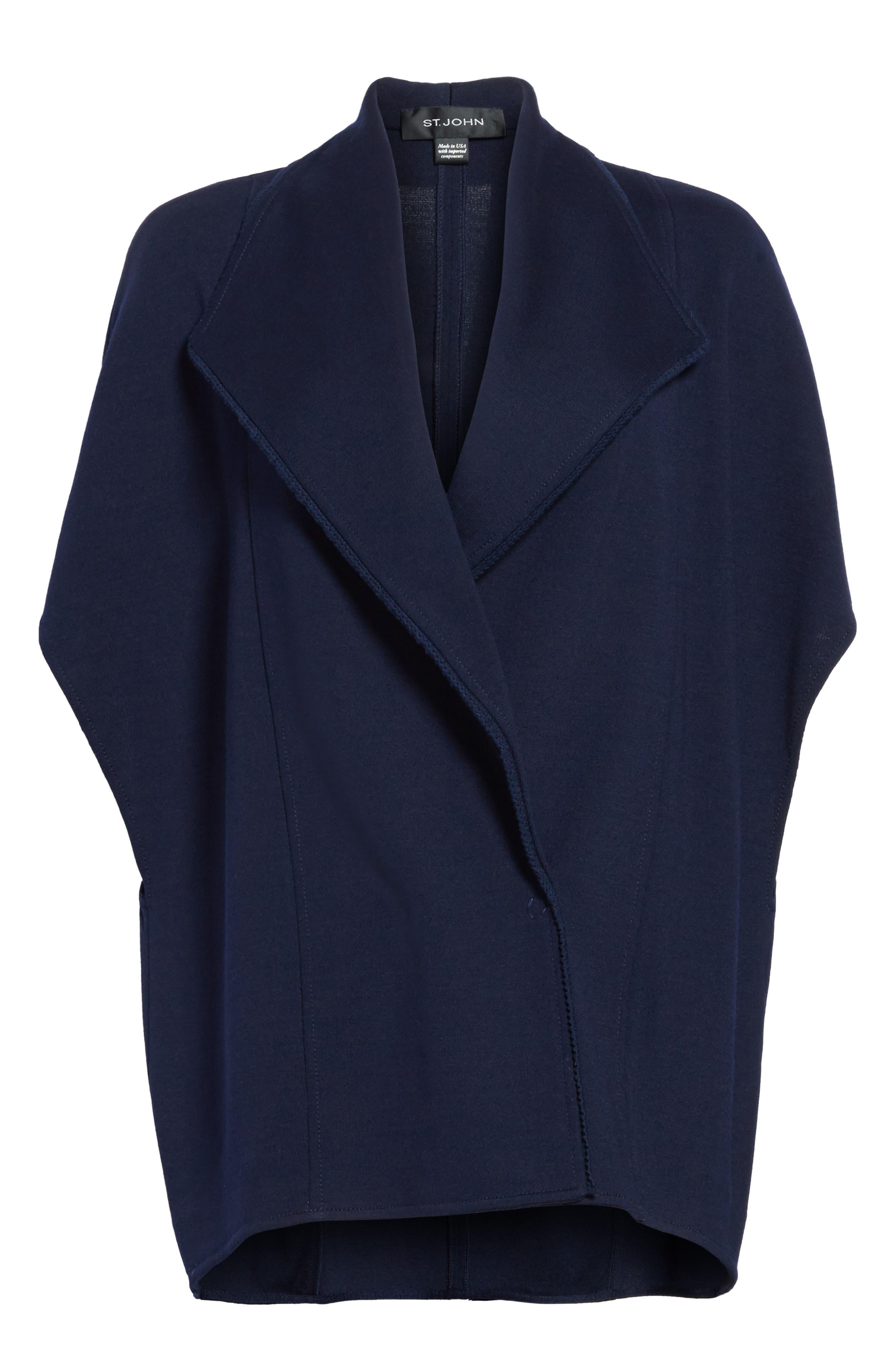 Circular Milano Knit Jacket,                             Alternate thumbnail 7, color,                             Navy