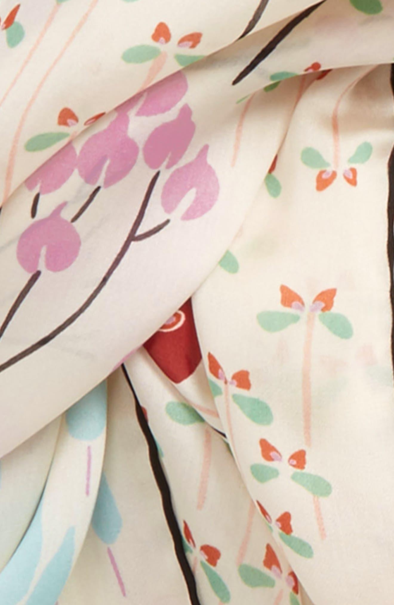 Flower Rows Silk Scarf,                             Alternate thumbnail 3, color,                             Avorio
