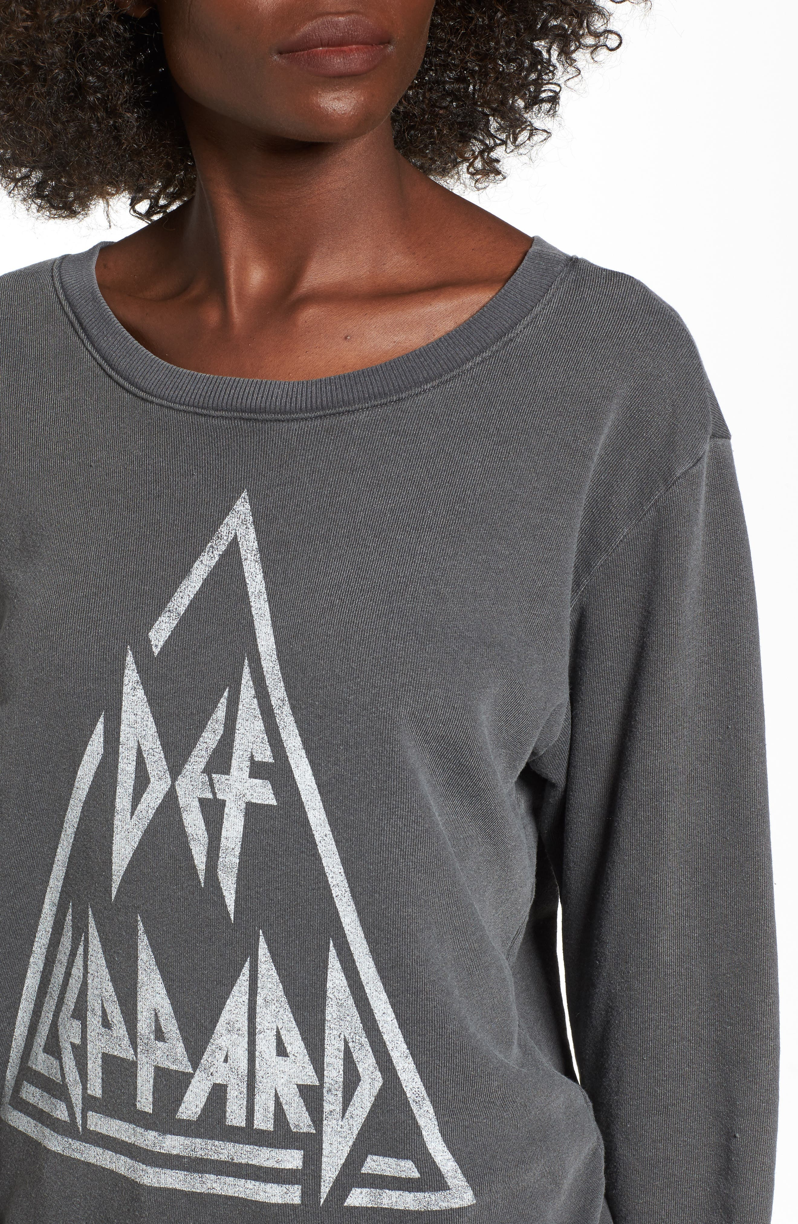 Def Leppard Sweatshirt,                             Alternate thumbnail 4, color,                             Faded Black