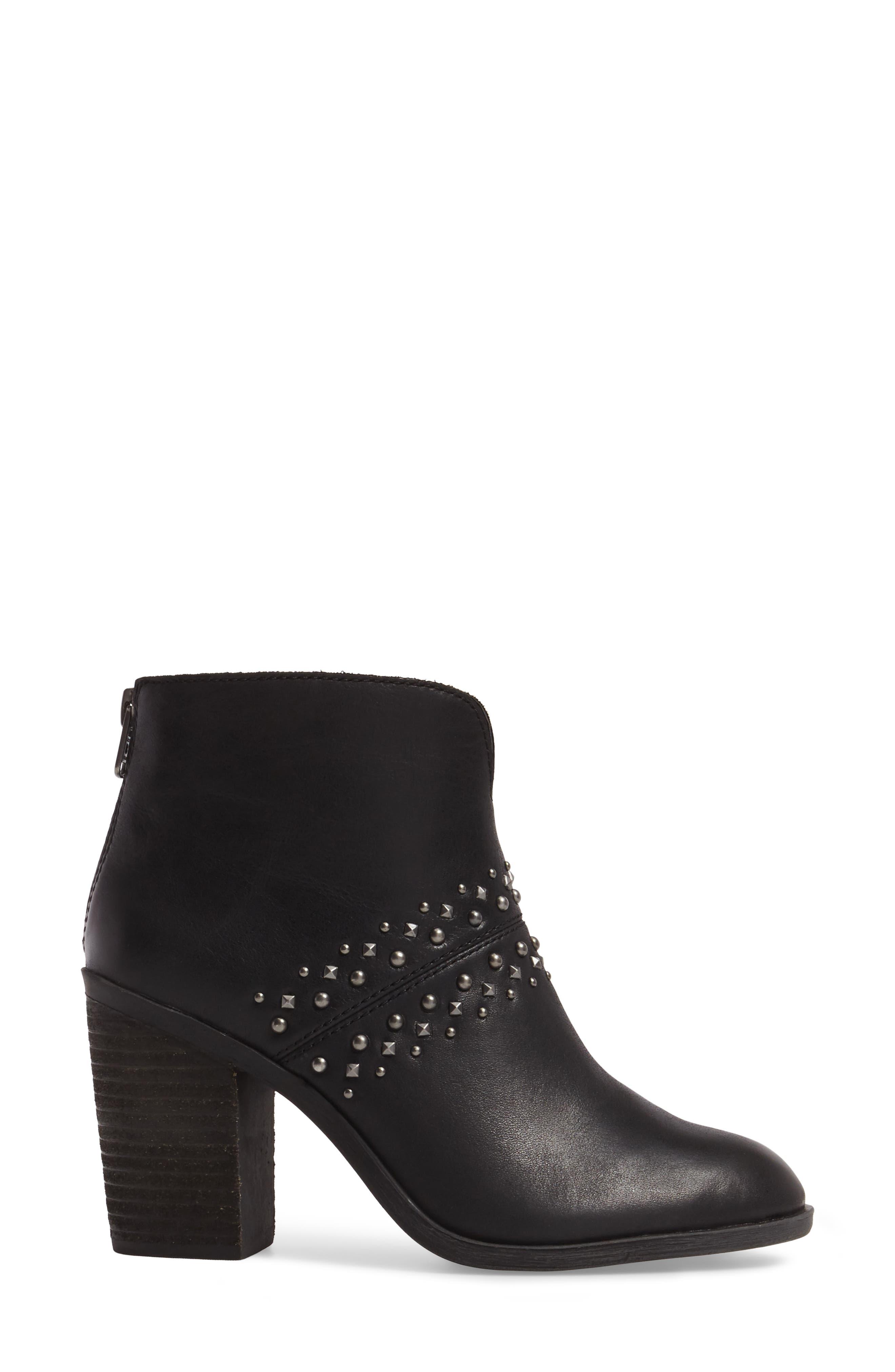 Sancha Studded Bootie,                             Alternate thumbnail 3, color,                             Black Leather
