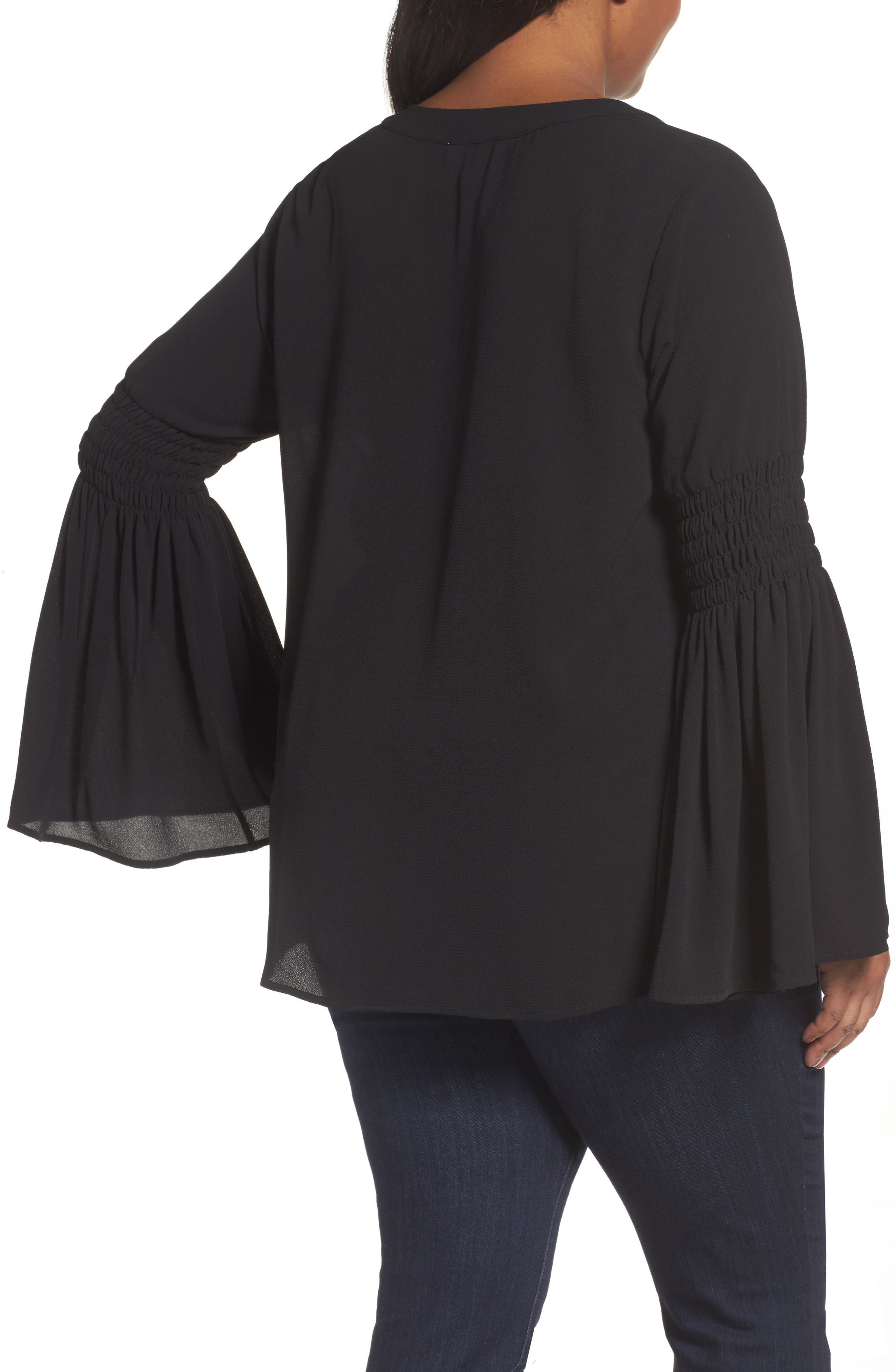 Bell Sleeve Tunic,                             Alternate thumbnail 2, color,                             Black