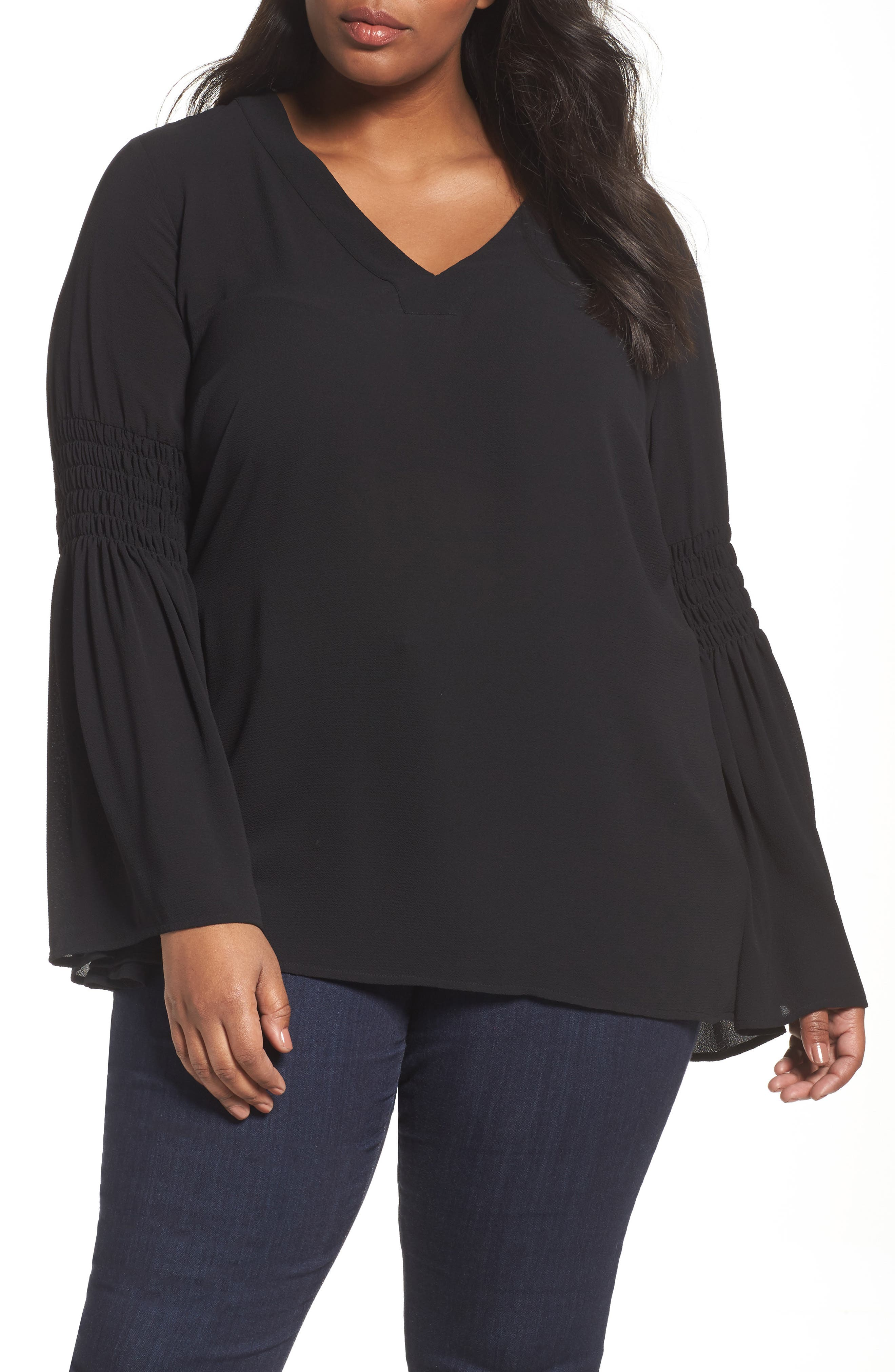 Bell Sleeve Tunic,                         Main,                         color, Black
