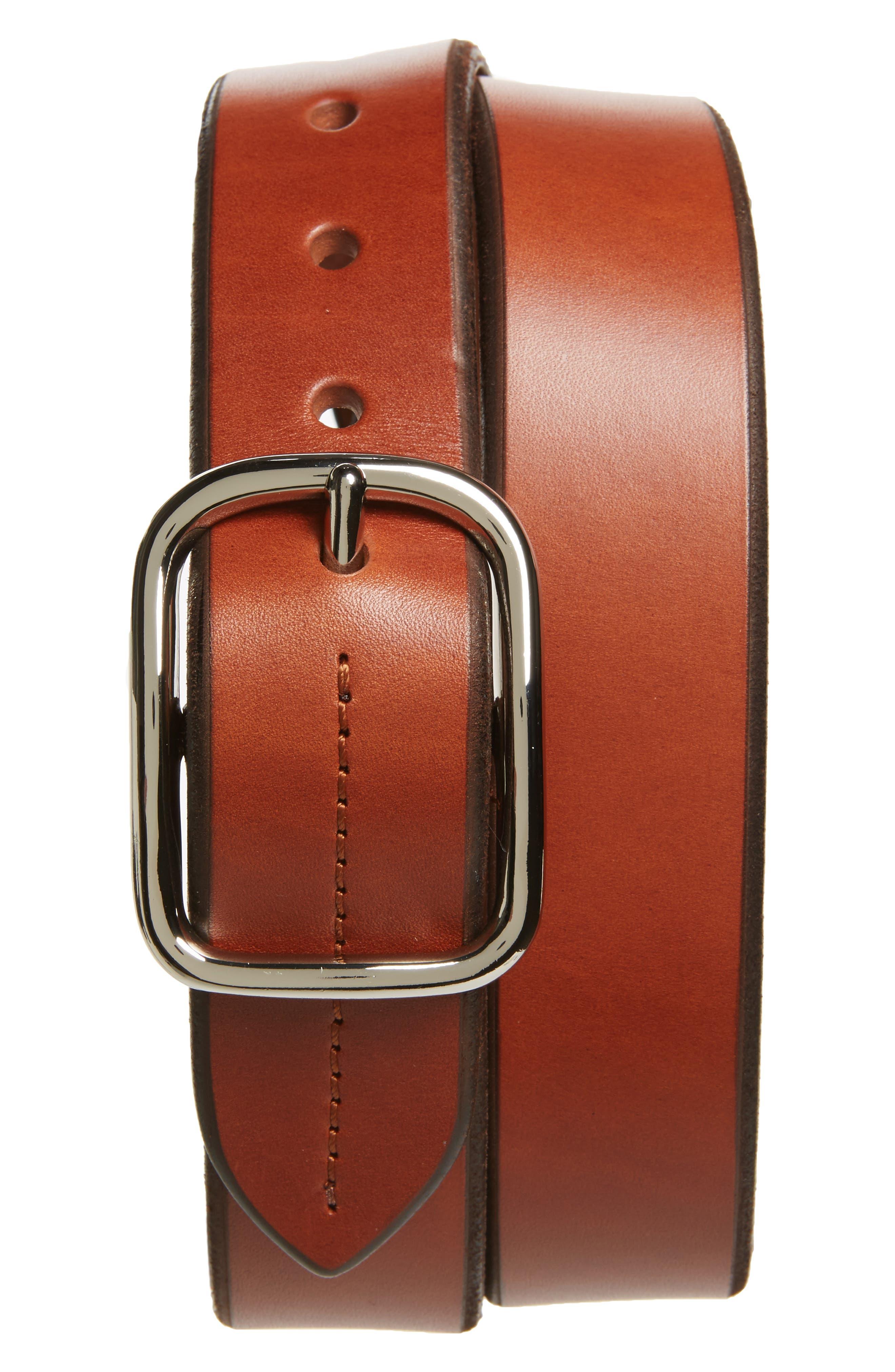 Leather Belt,                         Main,                         color, Bourbon