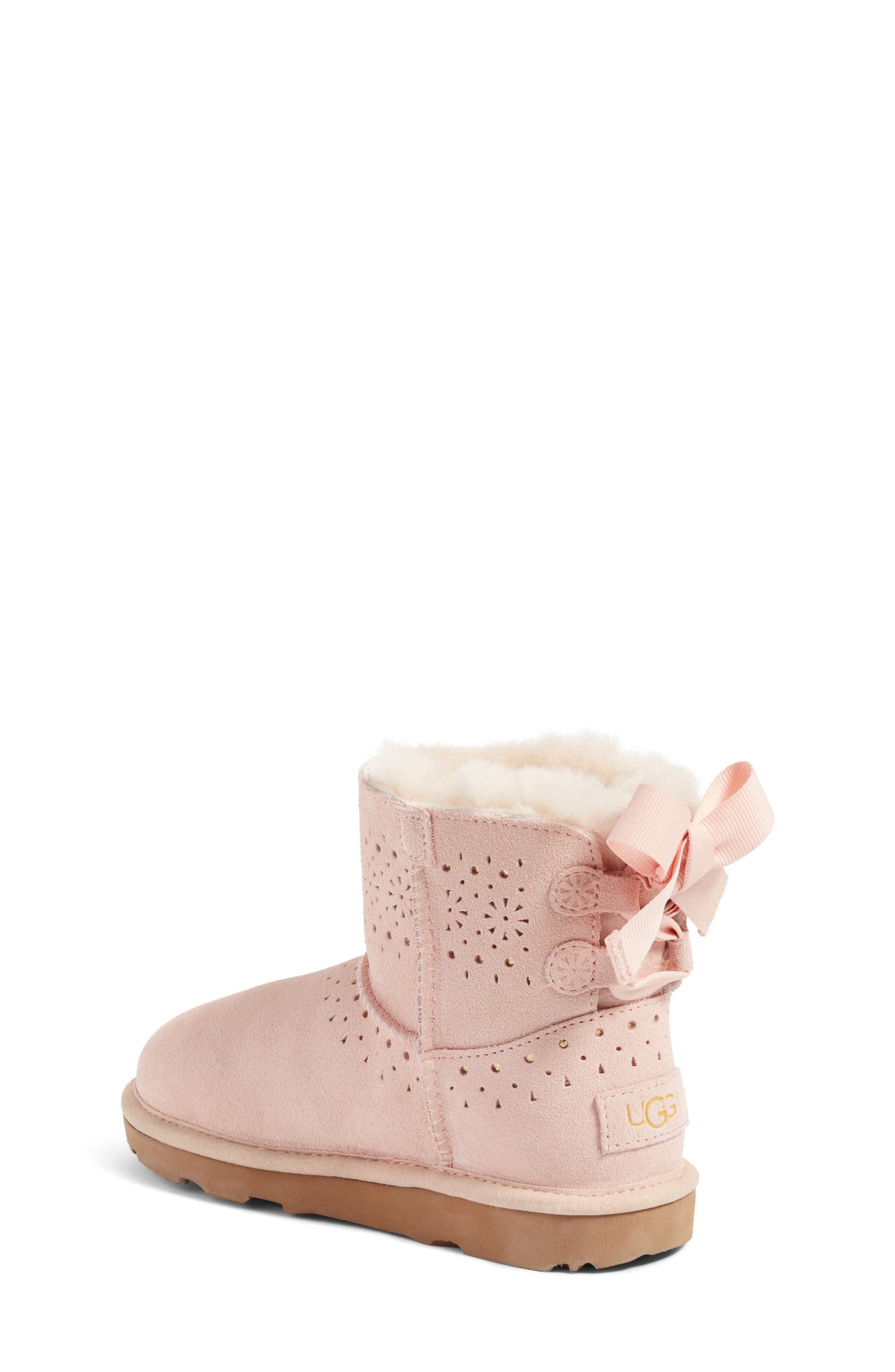 Dae Perforated Tie Back Boot,                             Alternate thumbnail 3, color,                             Baby Pink