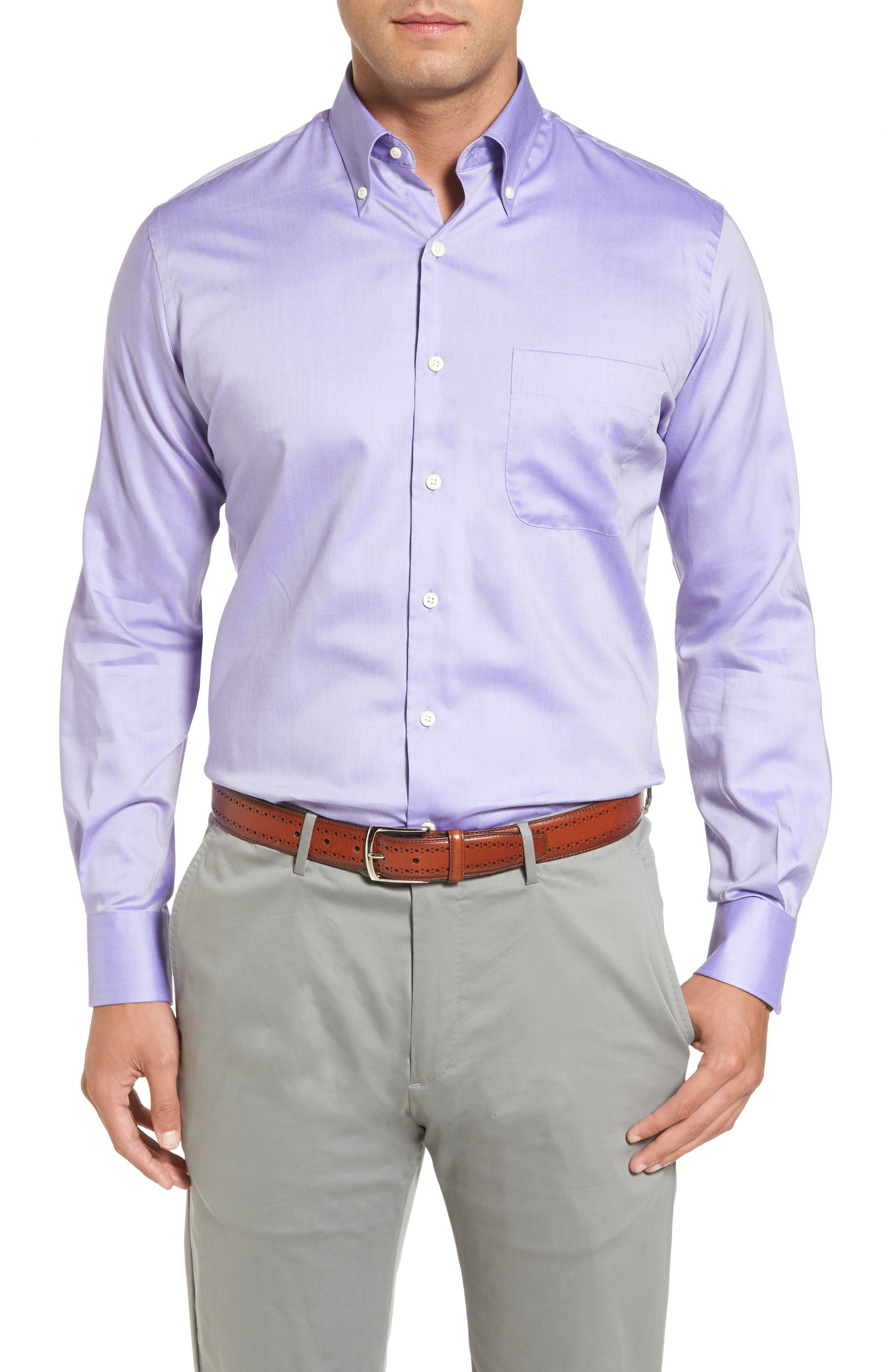 Peter Millar Crown Soft Pinpoint Regular Fit Sport Shirt