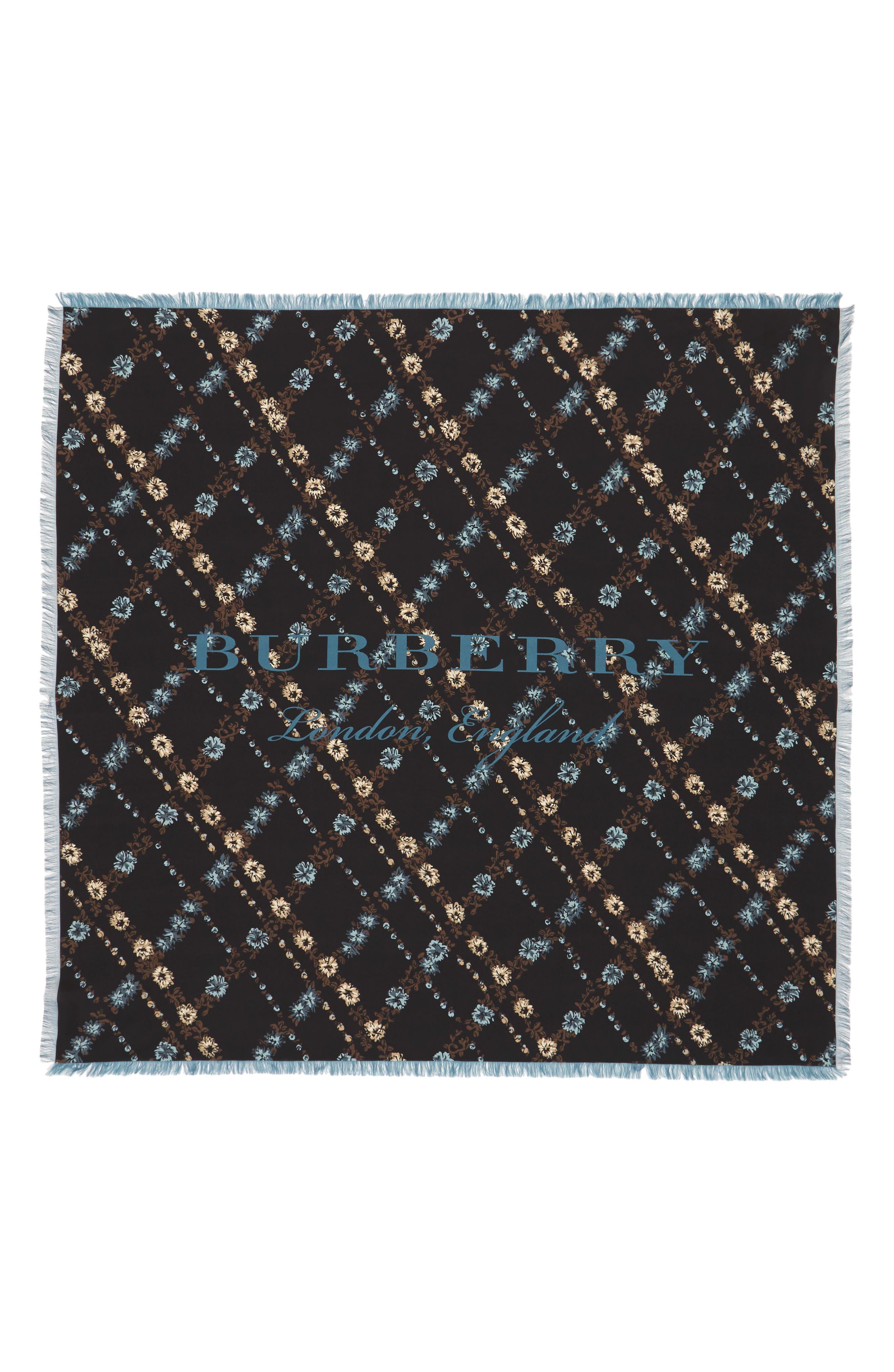 Castleford Check Silk Square Scarf,                         Main,                         color, Black