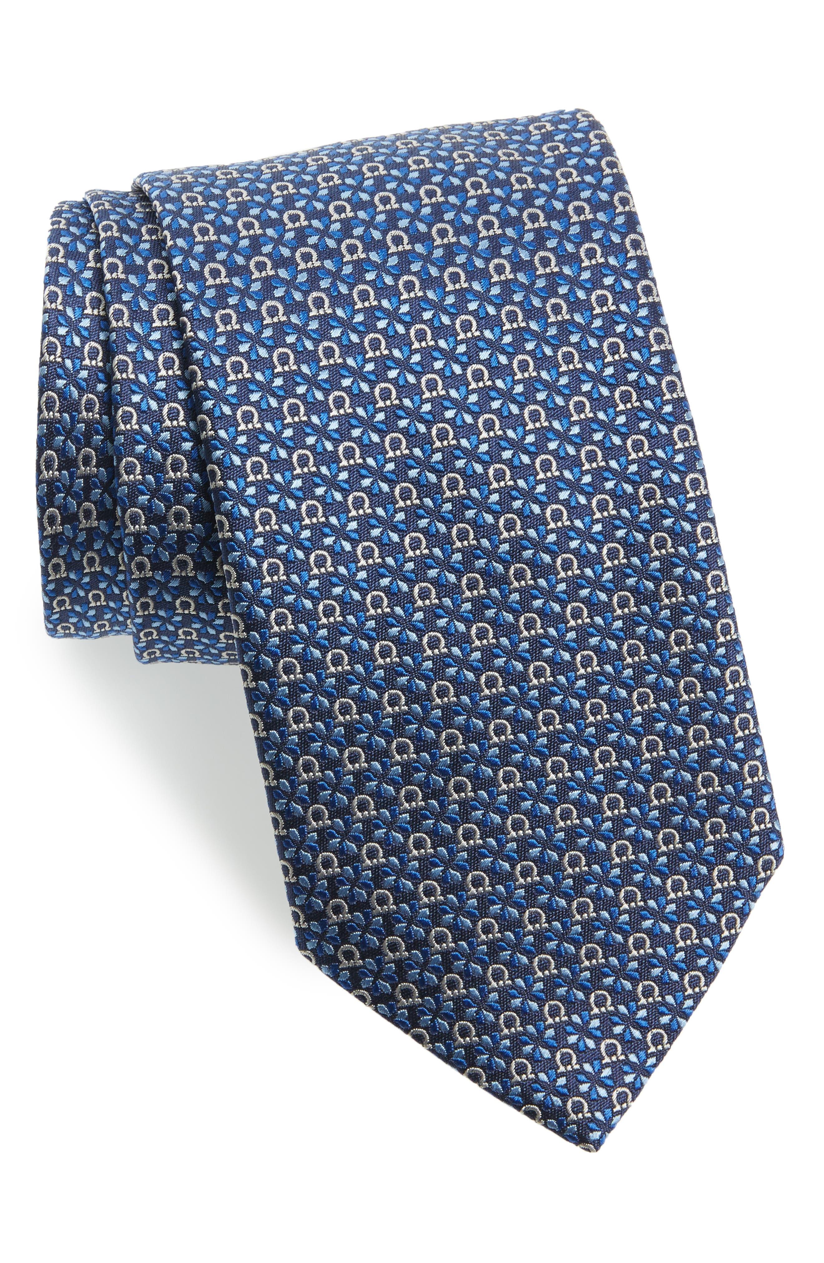 Geometric Gancini & Floral Print Silk Tie,                             Main thumbnail 1, color,                             Marine Blue