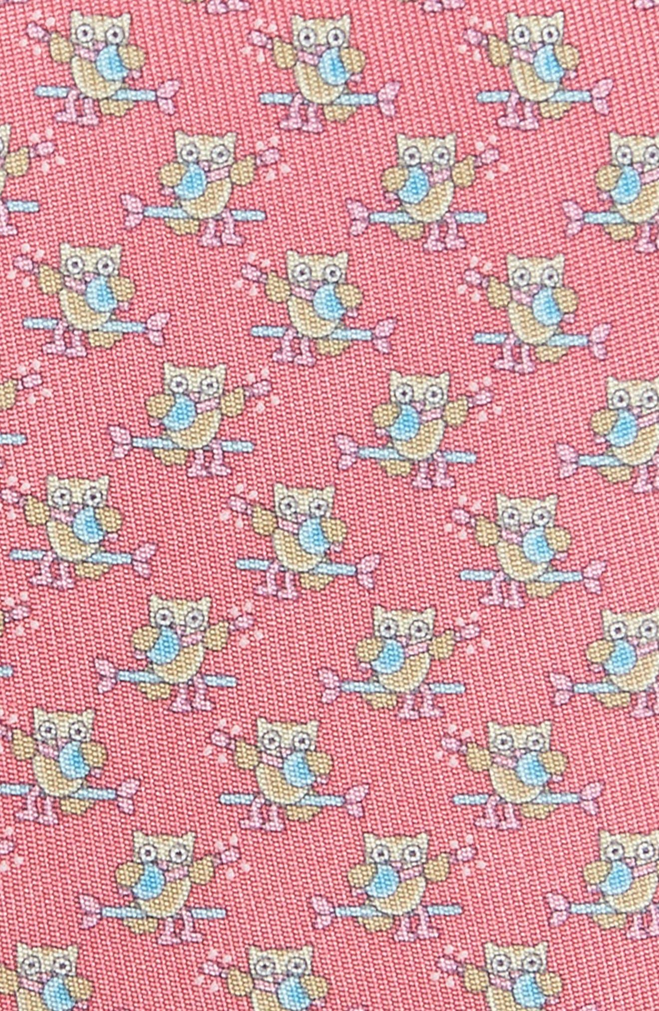 Owl Print Silk Tie,                             Alternate thumbnail 2, color,                             Pink