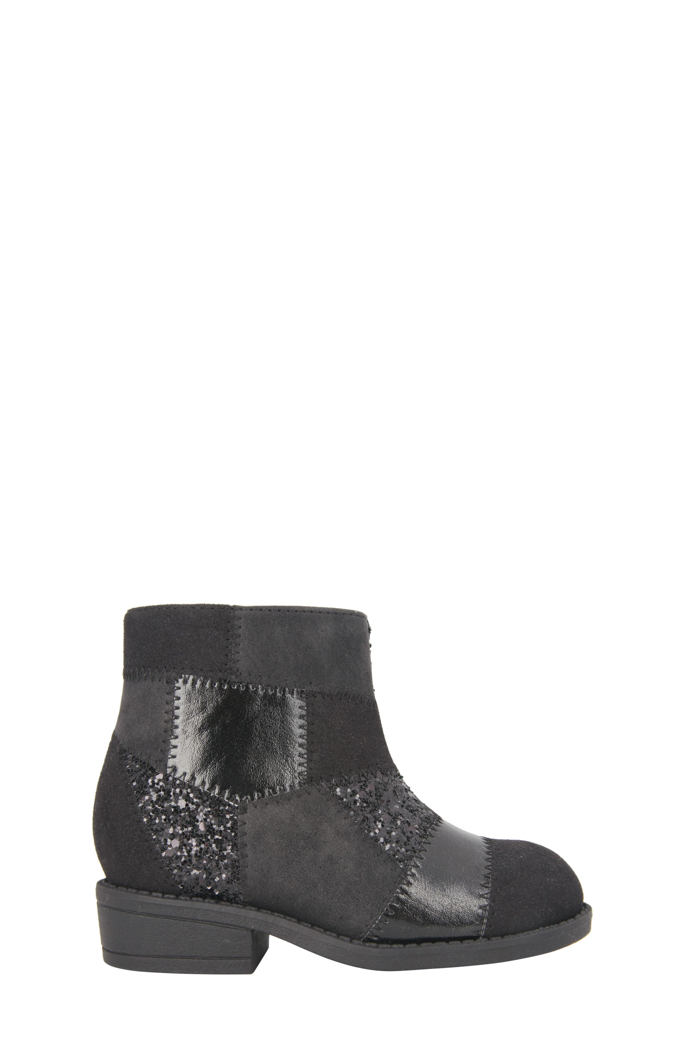 Ines Glittery Patchwork Bootie,                             Alternate thumbnail 3, color,                             Black Metallic/ Black Glitter
