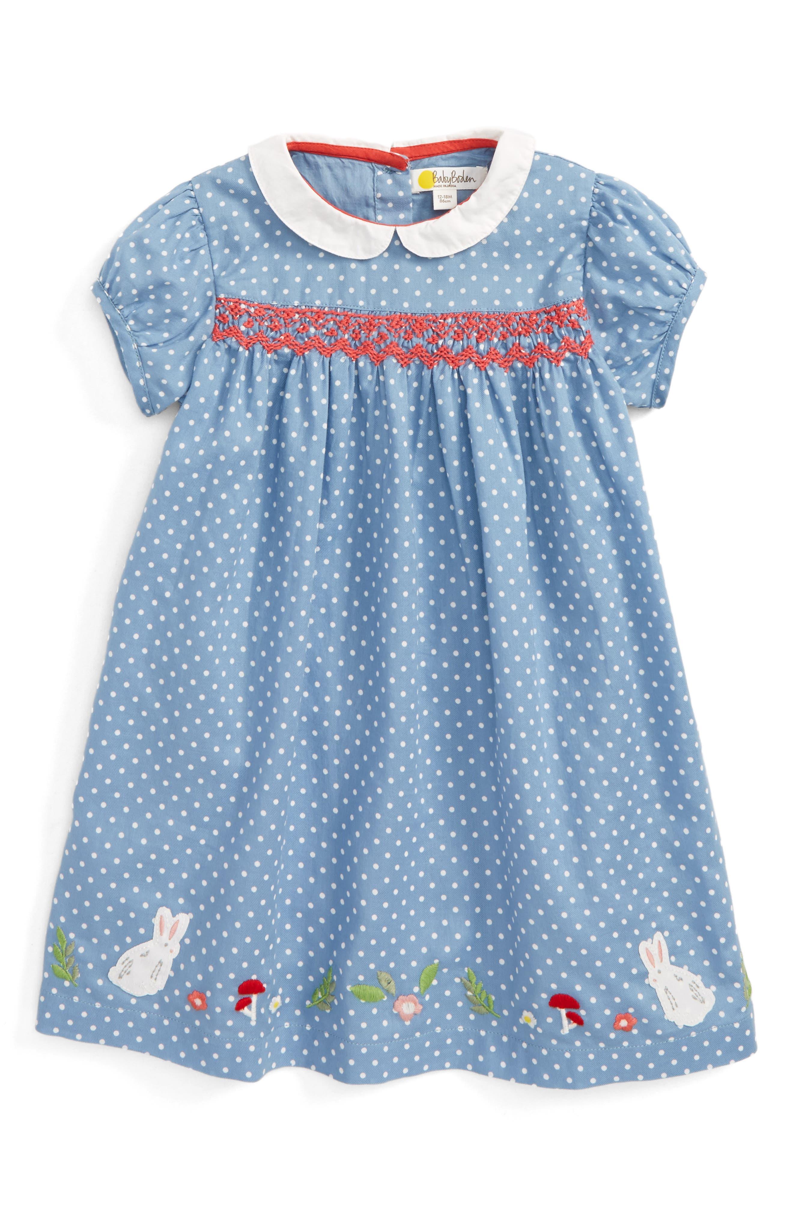 Pretty Print Smocked Dress,                         Main,                         color, Wren Blue