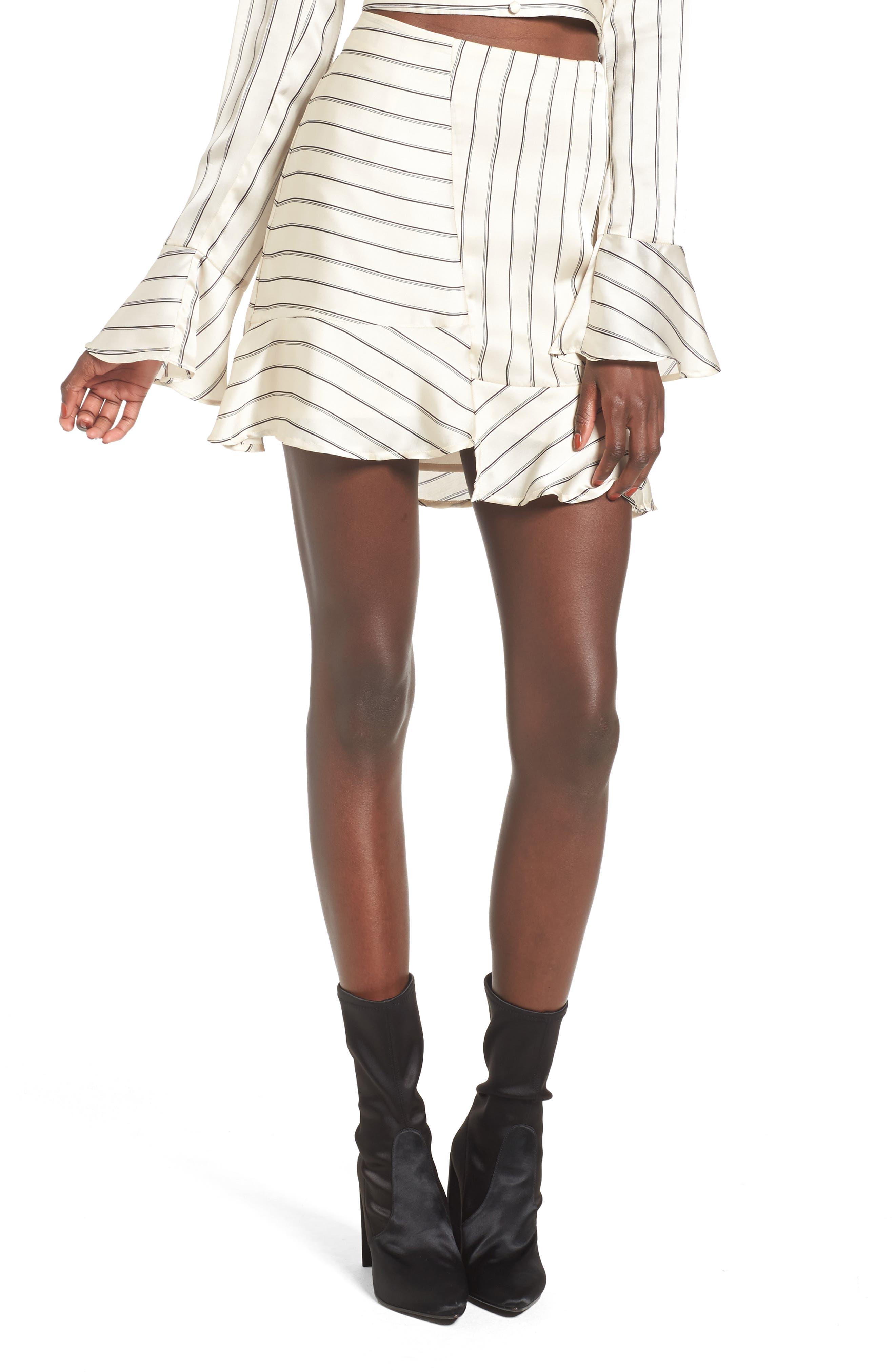 J.O.A. Ruffle Pinstripe Skirt