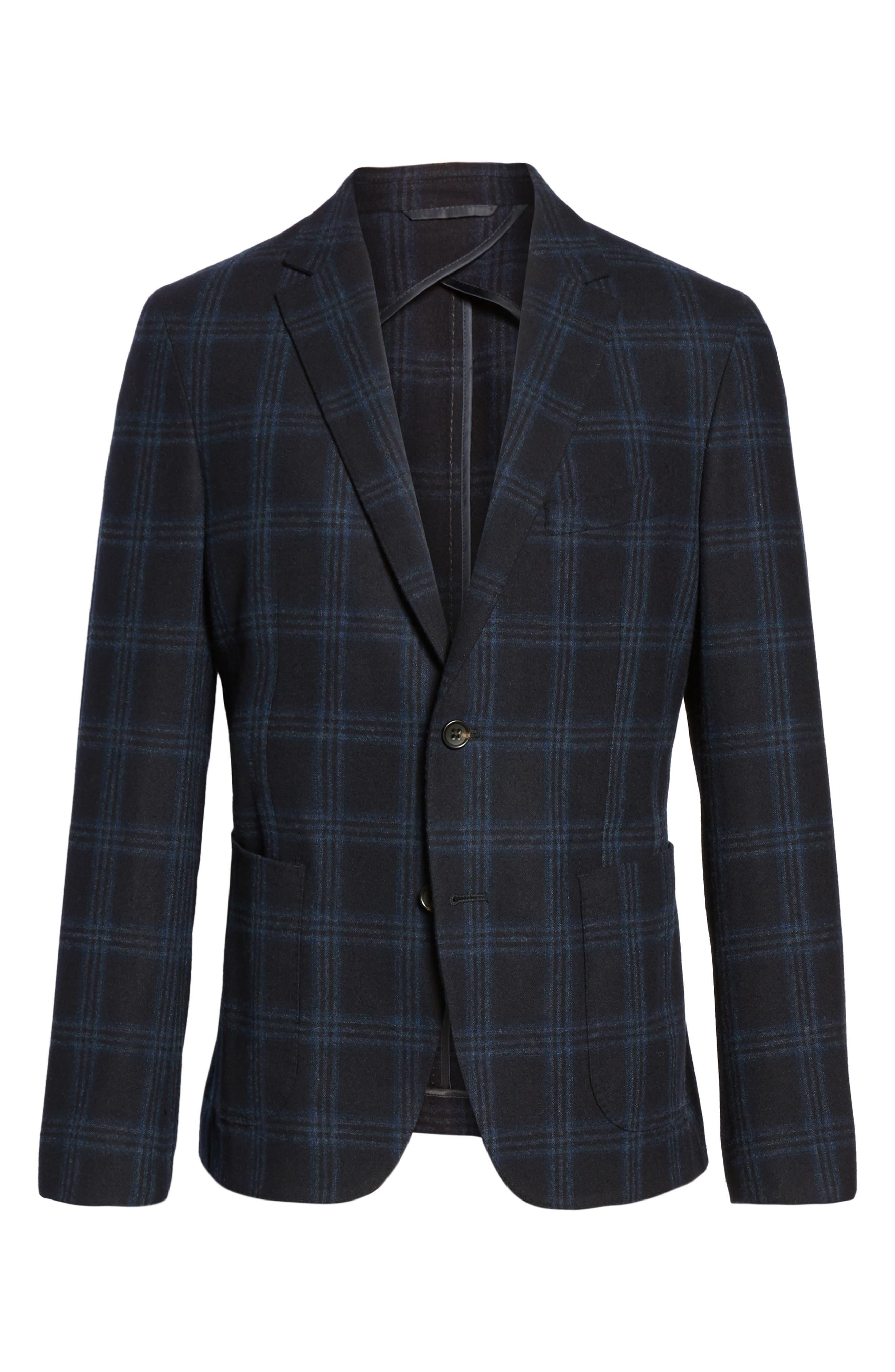 Alternate Image 6  - FLYNT Classic Fit Windowpane Wool & Cashmere Jersey Sport Coat