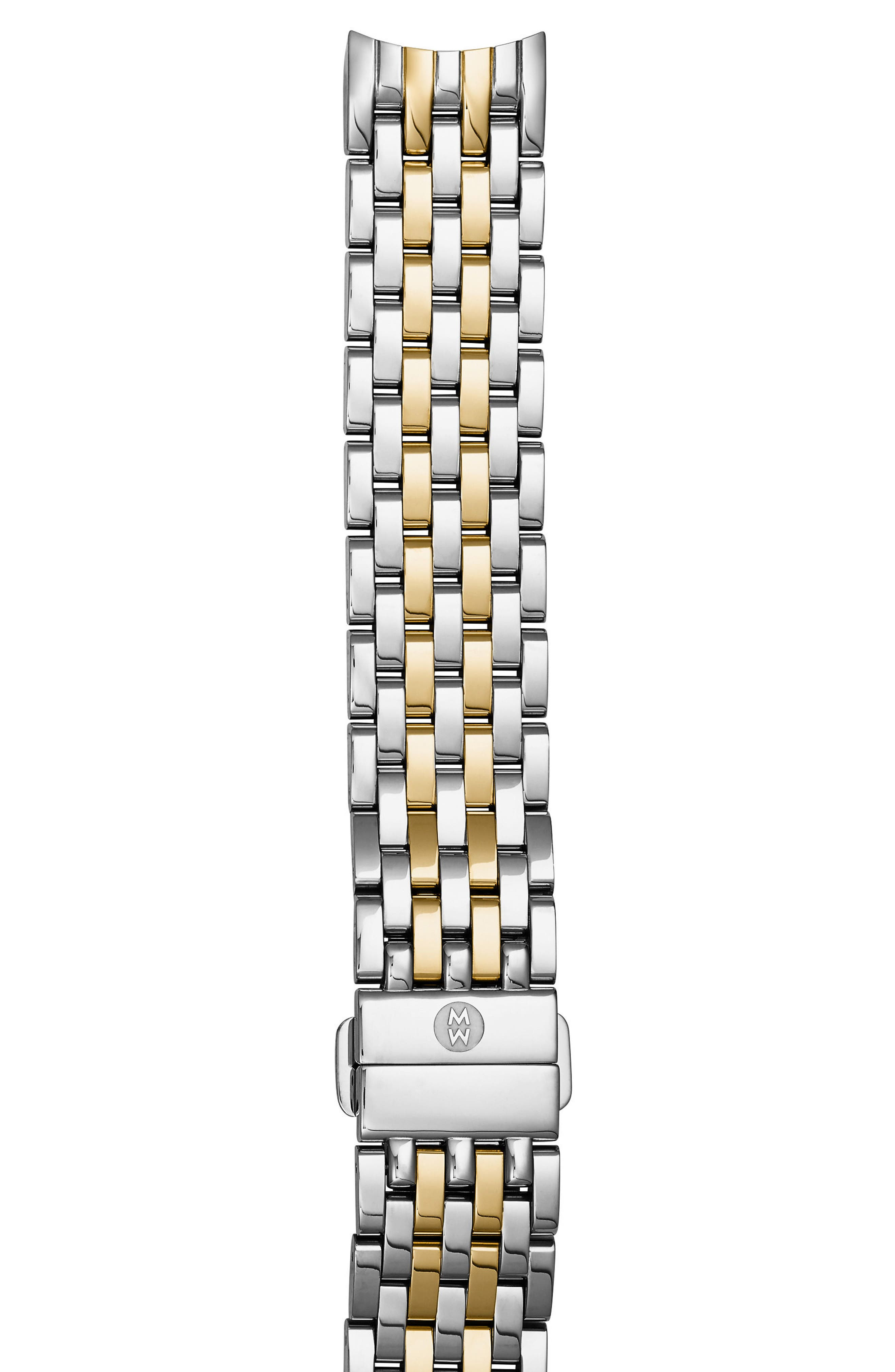 Sidney 18mm Stainless Steel Bracelet Watch Band,                             Main thumbnail 1, color,                             Silver/ Gold