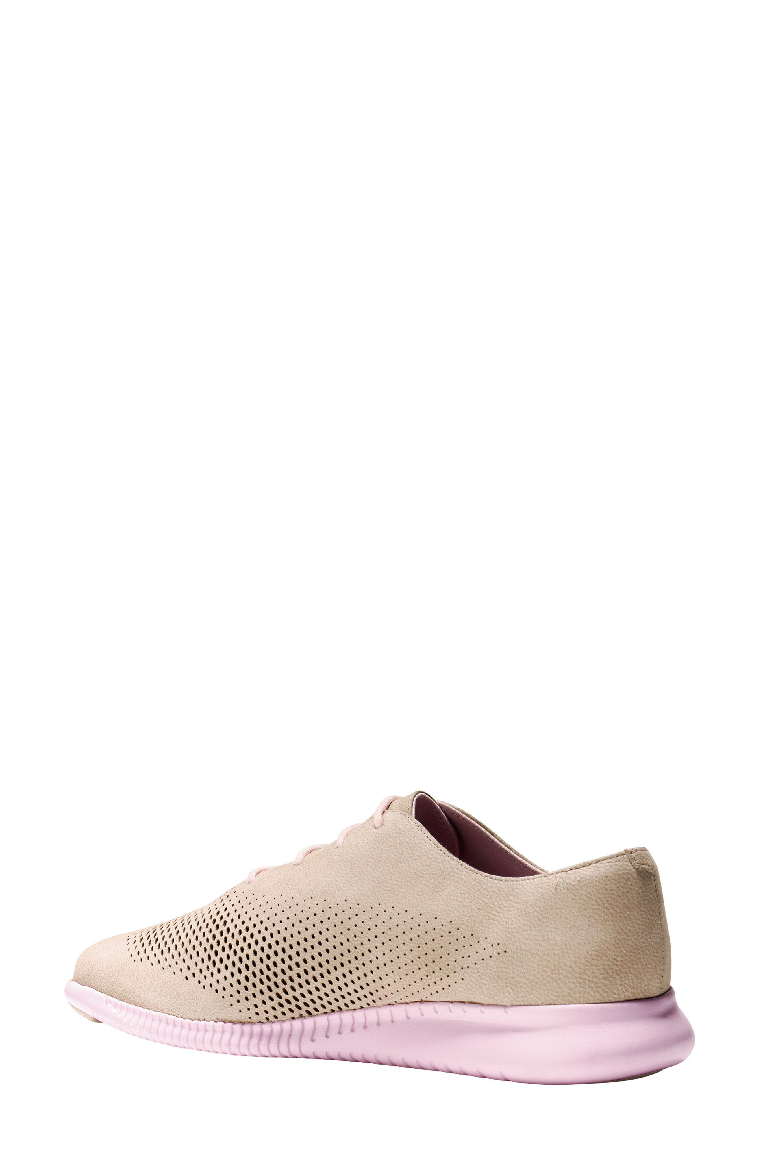'ZeroGrand' Perforated Wingtip,                             Alternate thumbnail 2, color,                             Barley/ Pale Lilac Nubuck