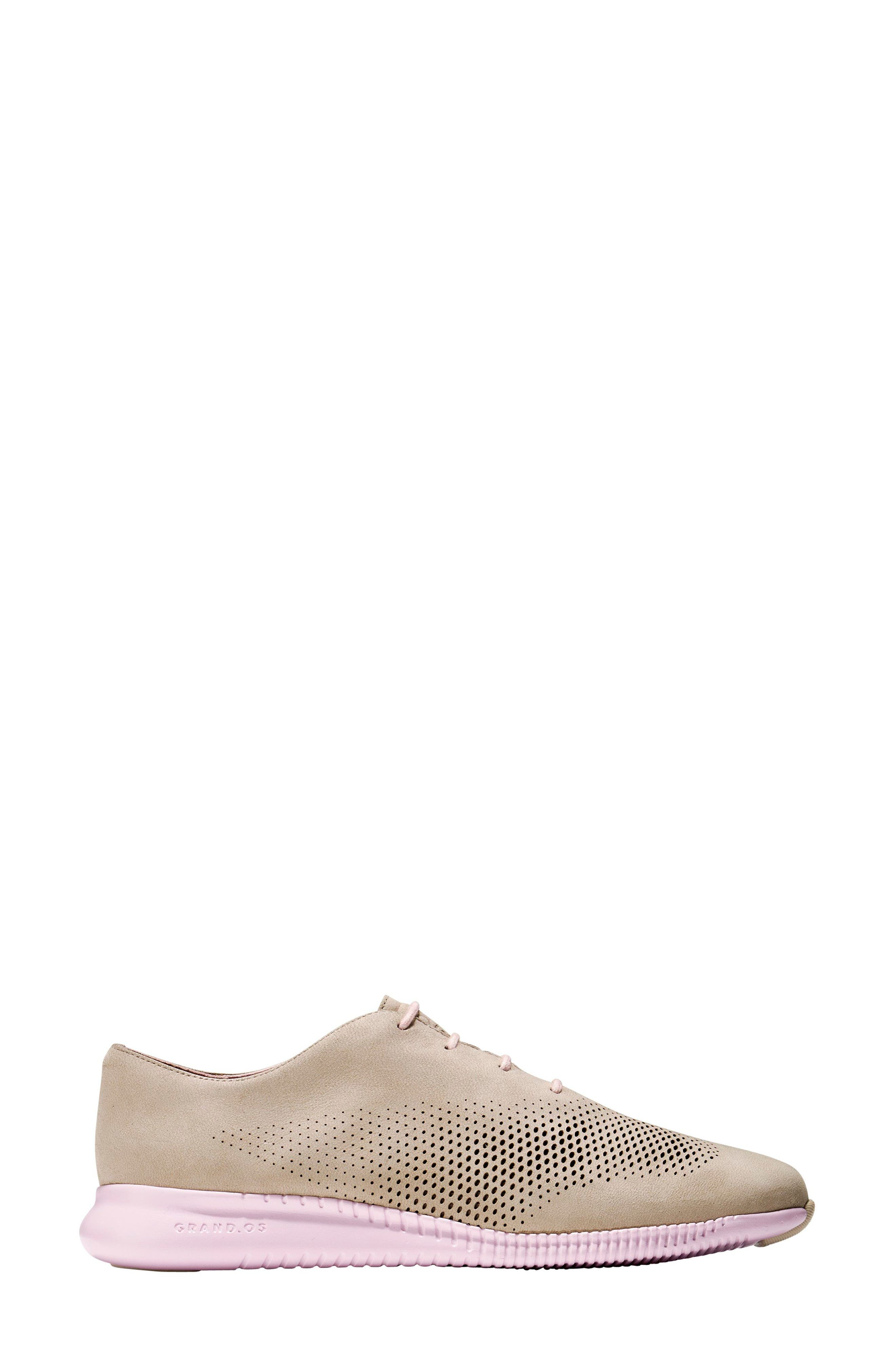 'ZeroGrand' Perforated Wingtip,                             Alternate thumbnail 3, color,                             Barley/ Pale Lilac Nubuck