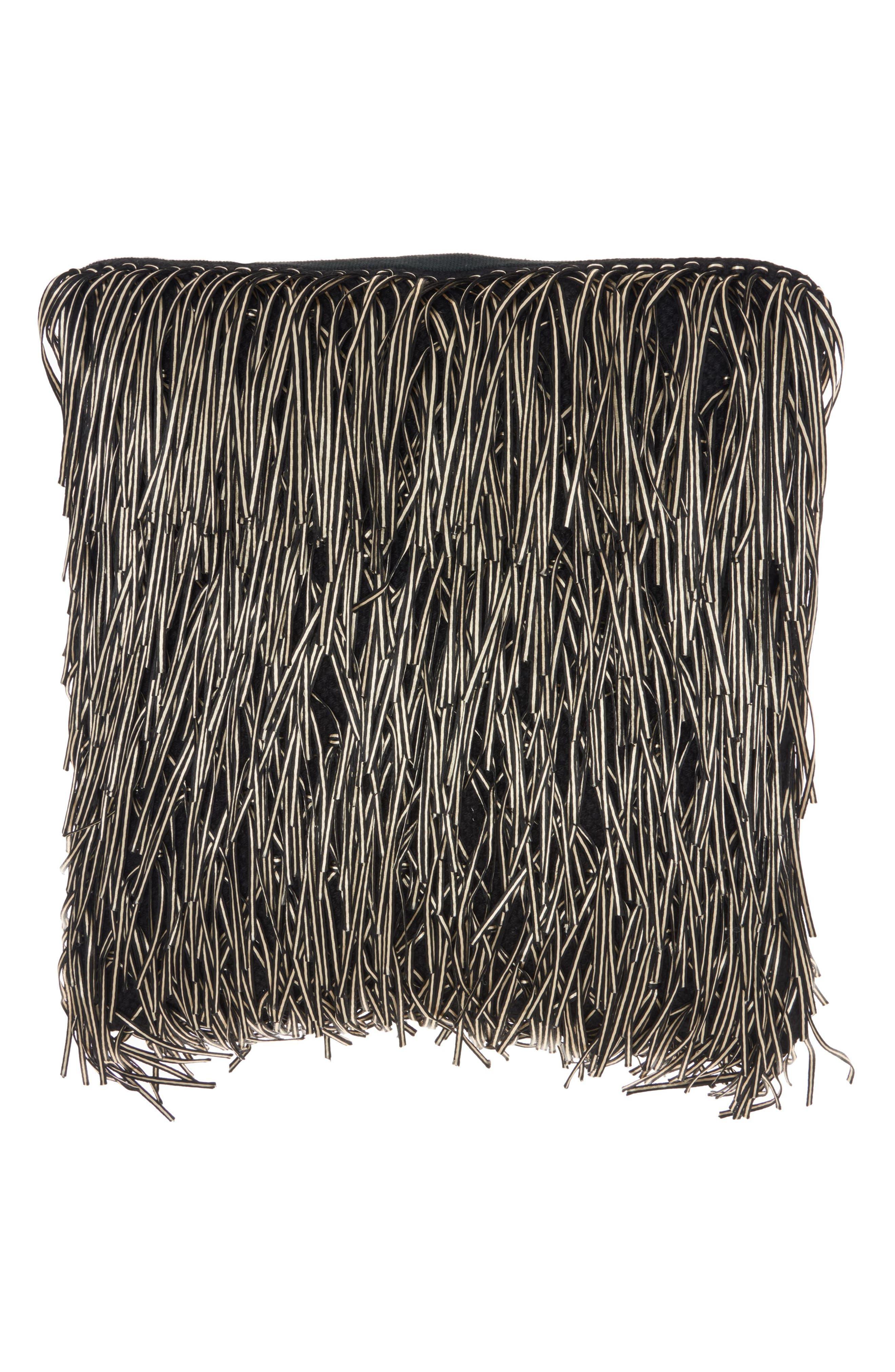 Metallic Fringe Pillow,                             Main thumbnail 1, color,                             Black