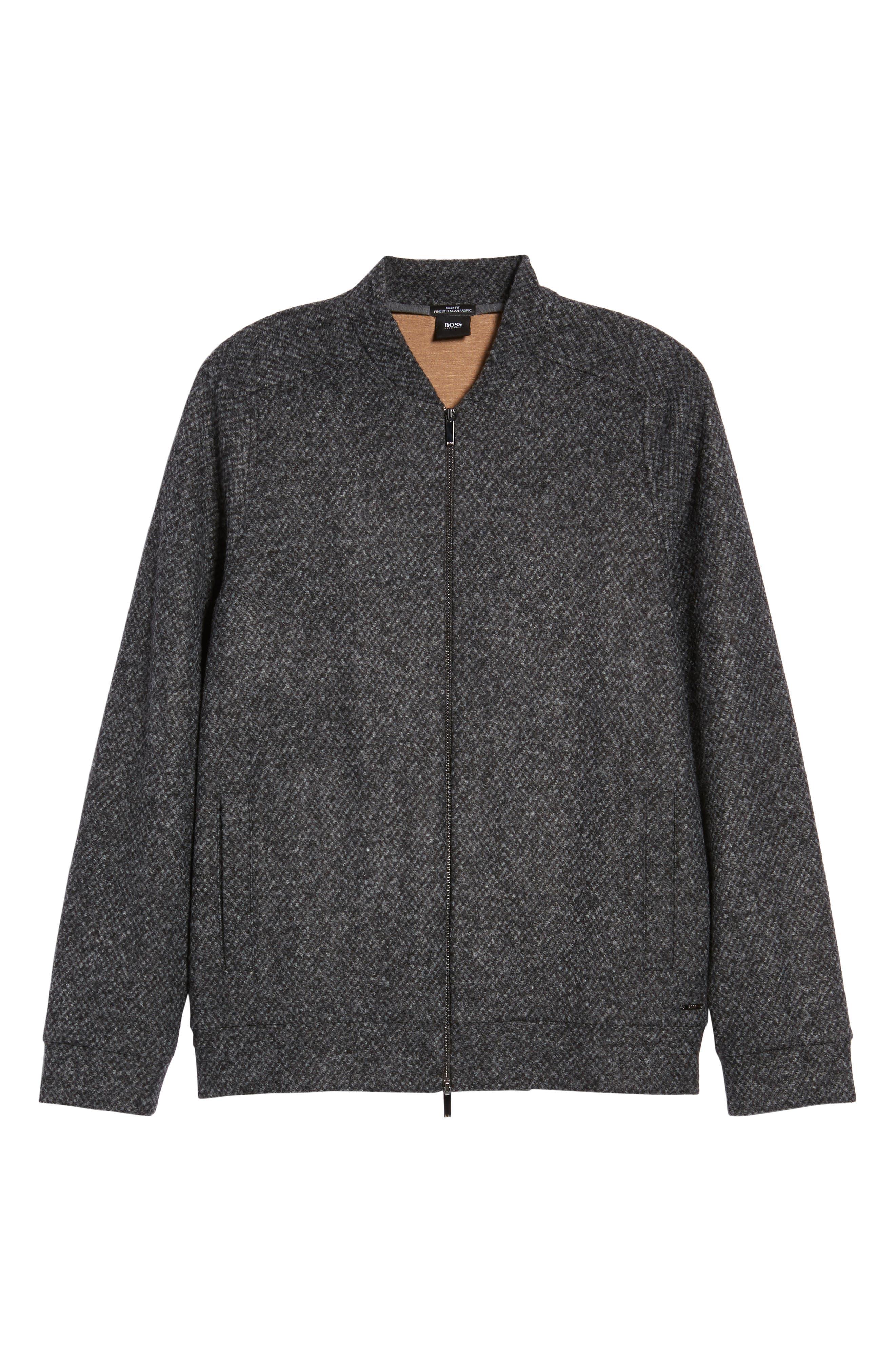 Salea Slim Fit Bomber Jacket,                             Alternate thumbnail 5, color,                             Grey