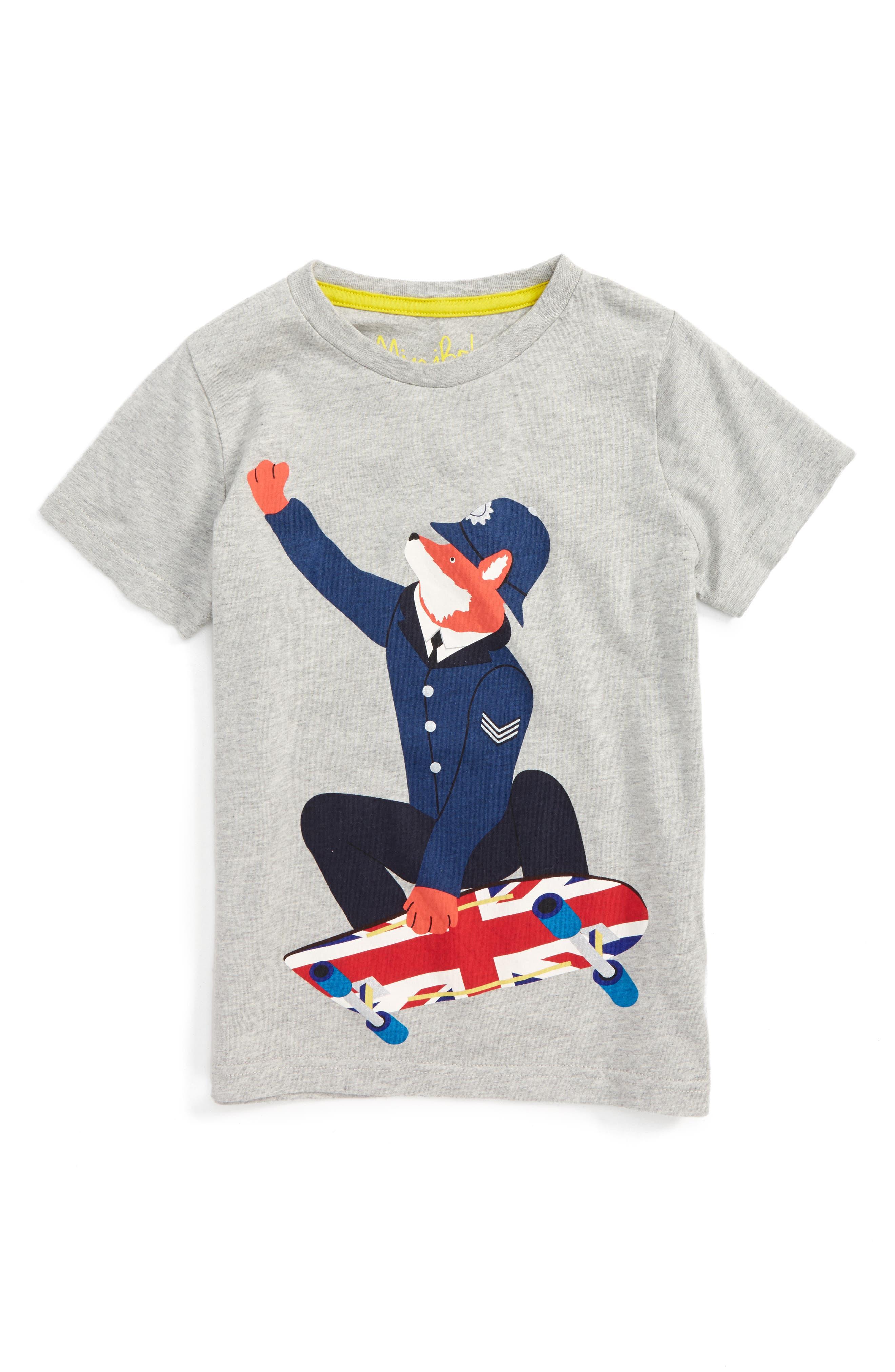 Great British Bobby Fox Graphic T-Shirt,                         Main,                         color, Grey Marl Skater